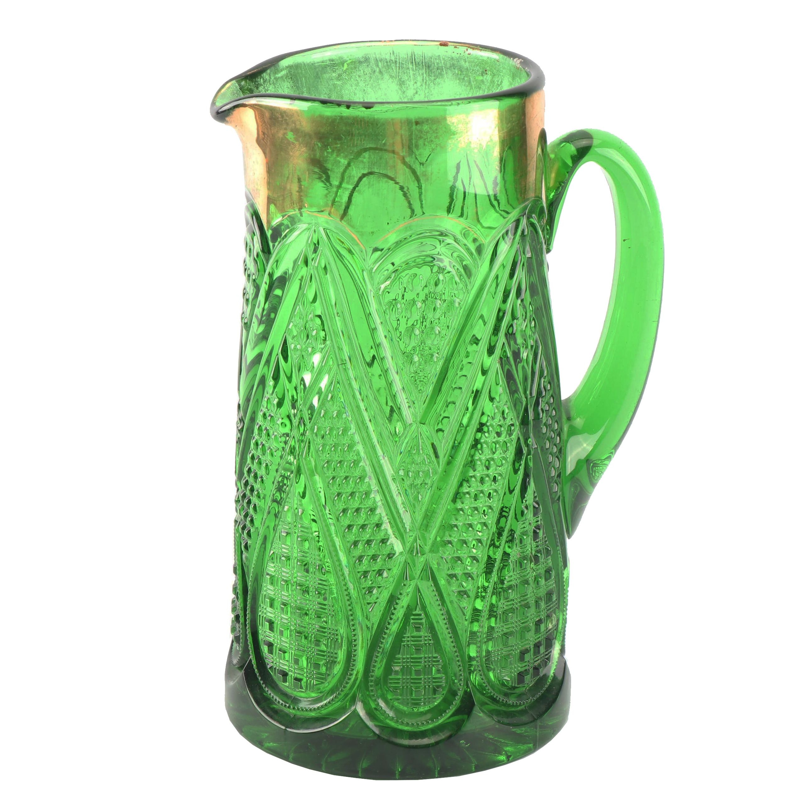 Vintage American Emerald Pressed Glass Pitcher
