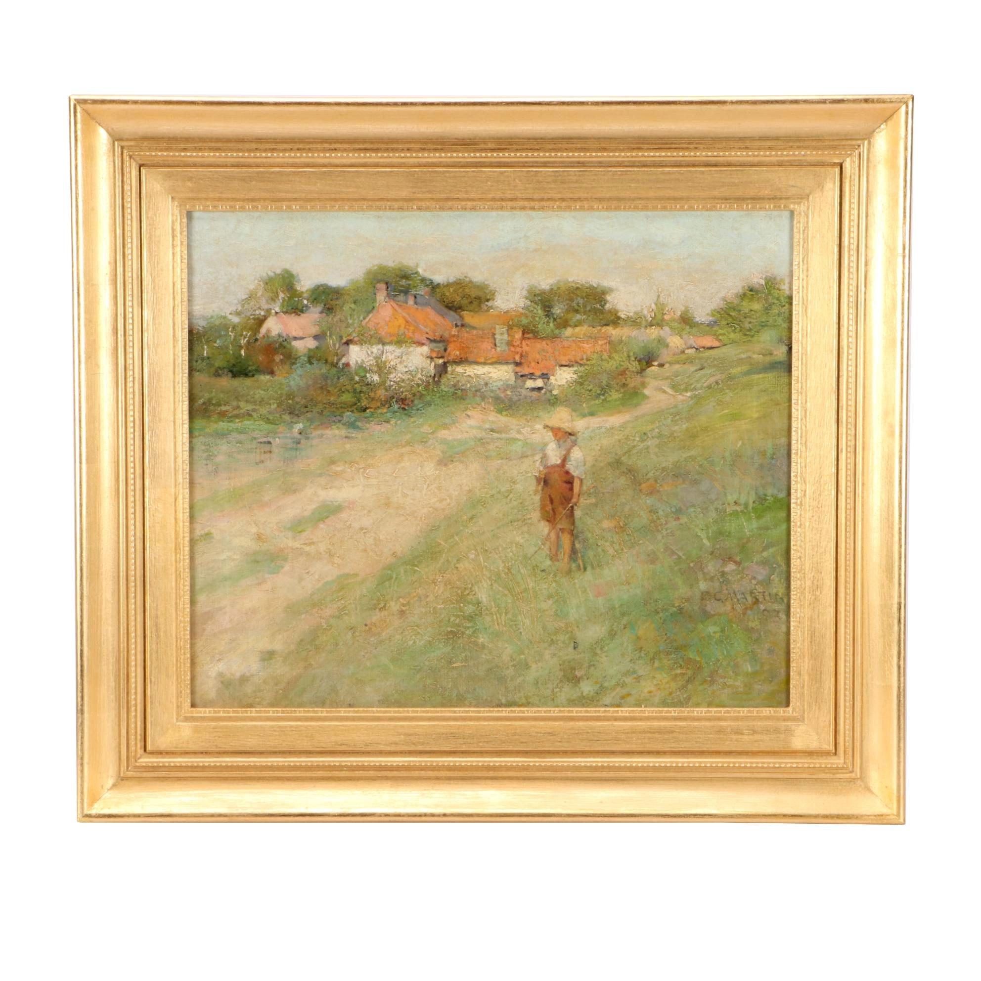 F. C. Martin 1903 Impressionist Oil Landscape with Boy