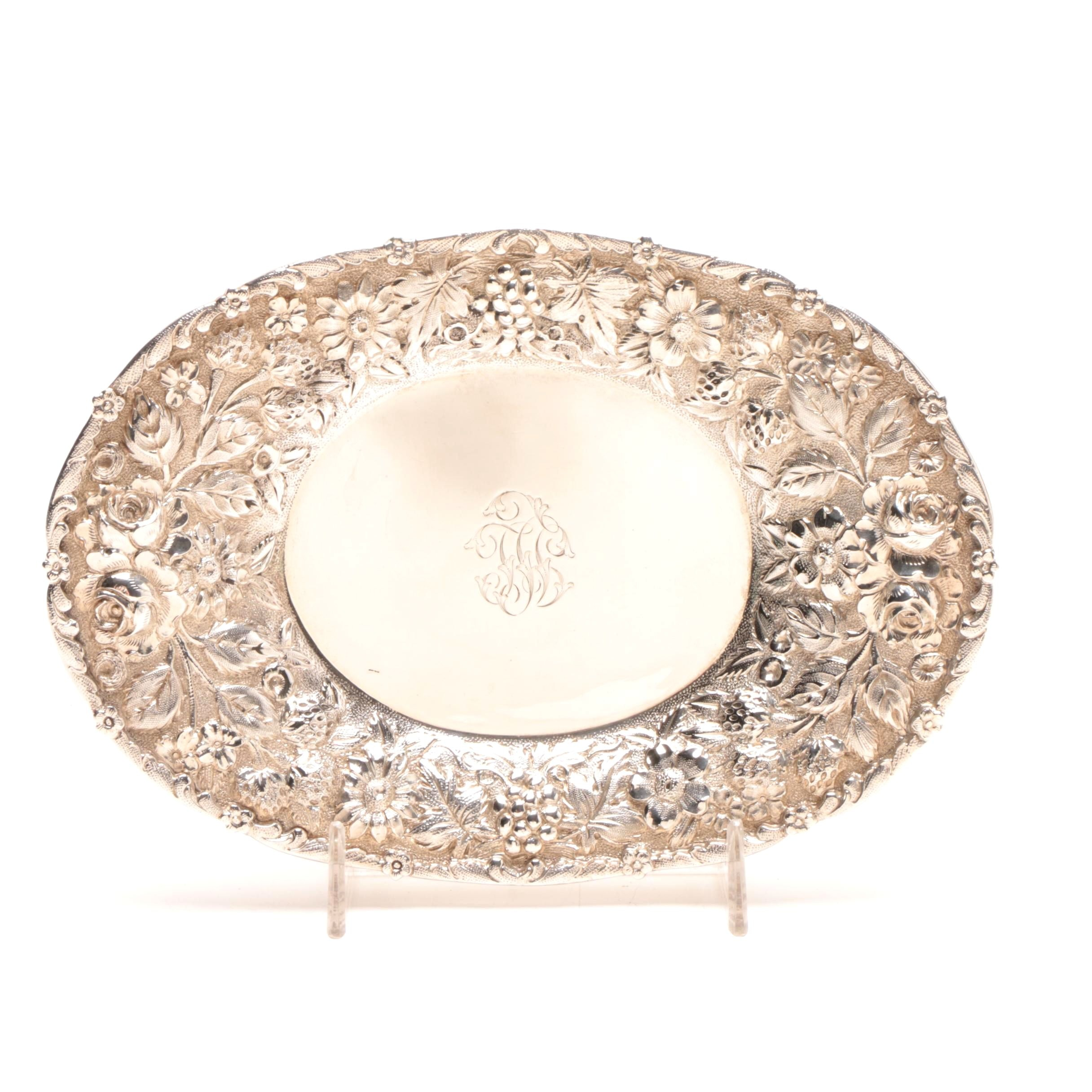 Vintage Sterling Silver Repoussé Candy Dish for Loring Andrews Co.