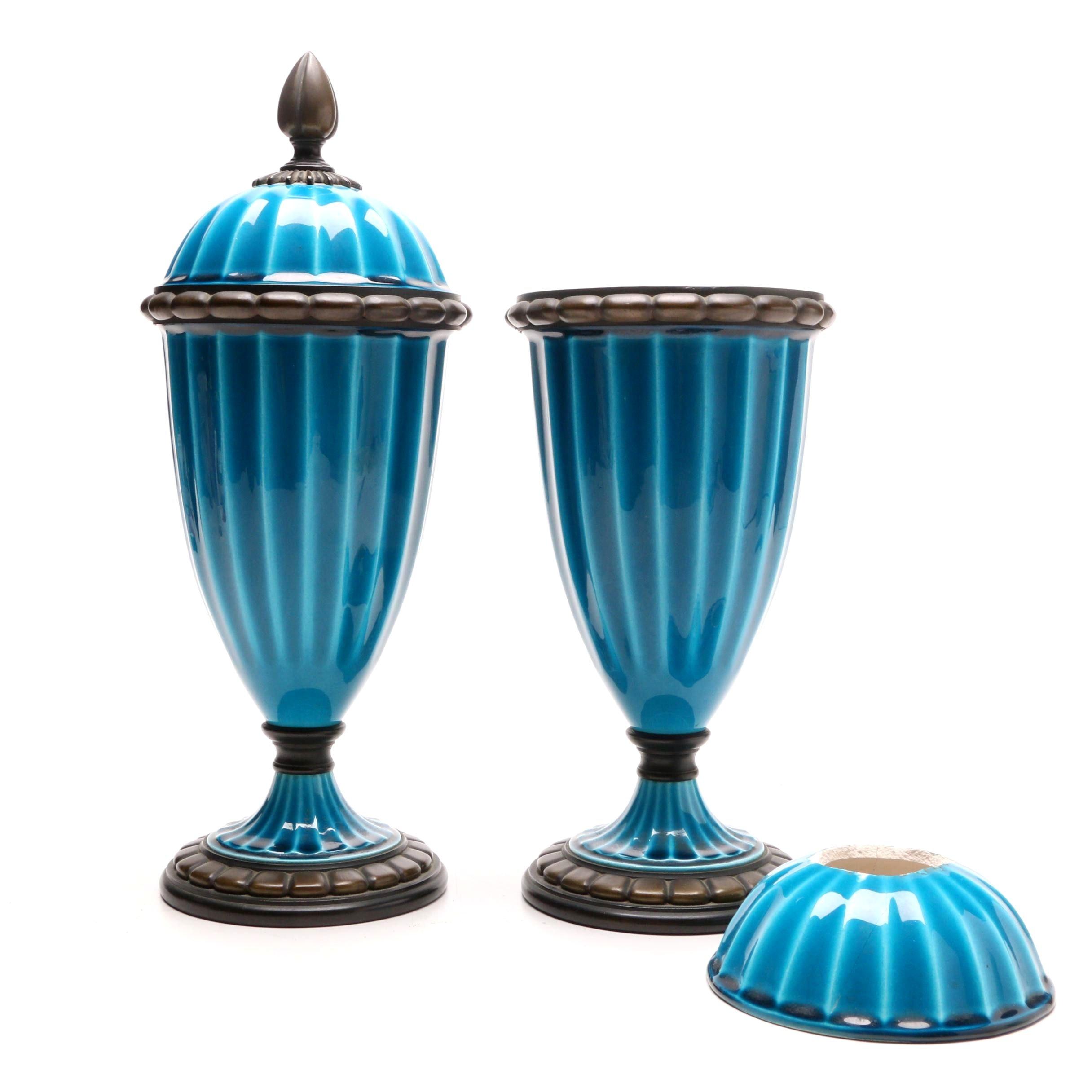 Sevres Cerulean Porcelain Urns