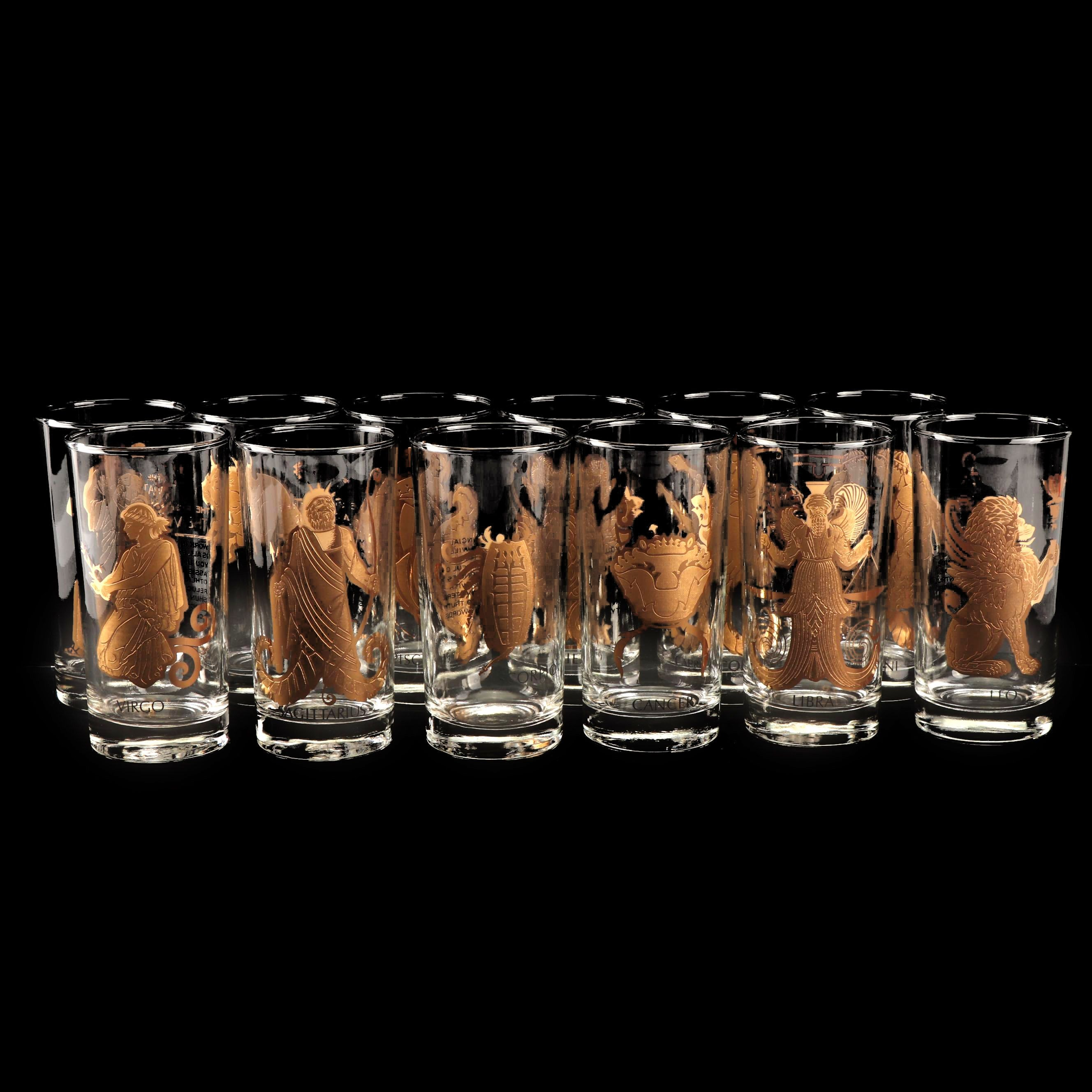 """Complete Set of Anchor Hocking """"Zodiac"""" Glass Tumblers"""