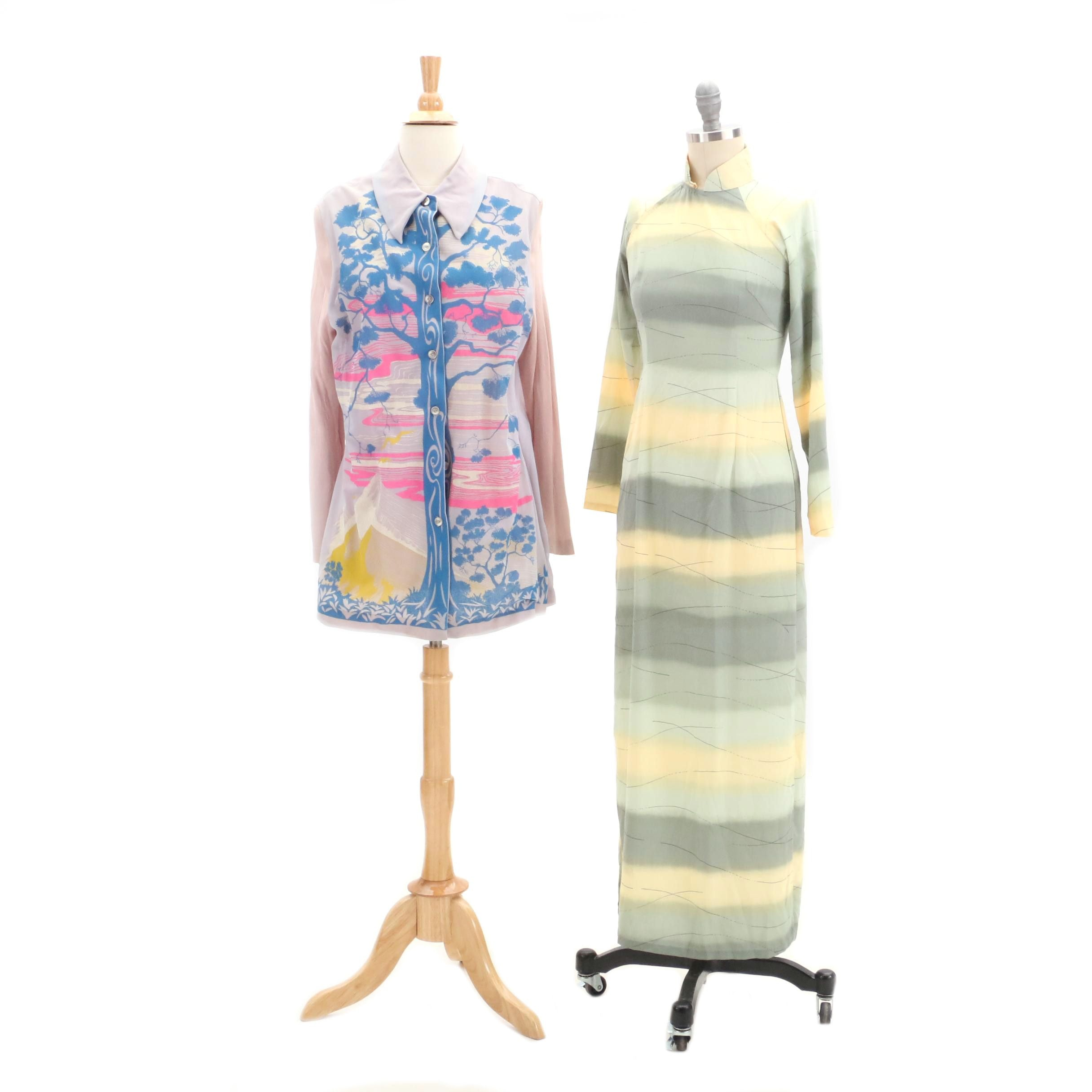 Circa 1960s Asian Inspired Long Sleeve Shirt and Cheongsam-Style Tunic Dress