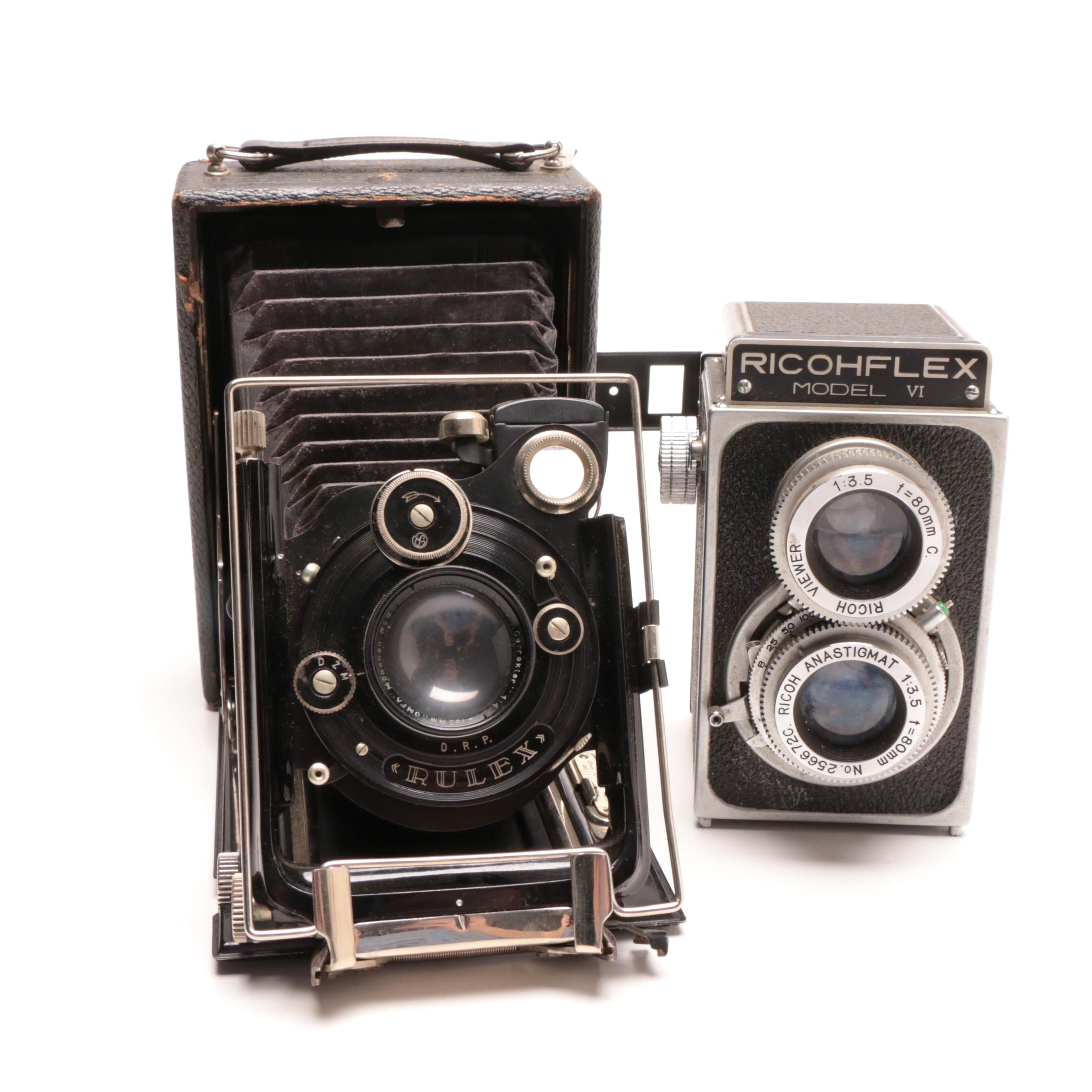 RicohFlex Model VI Camera and Leather Carrier and a Welta Folding Camera