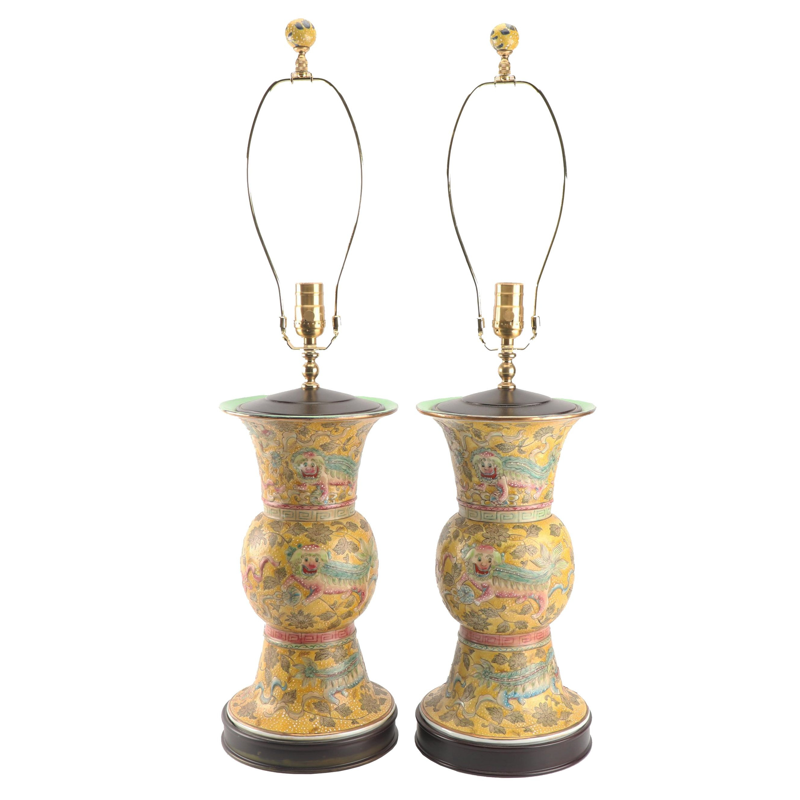 Chinese Famille Jaune Ceramic Gu Vase Table Lamps