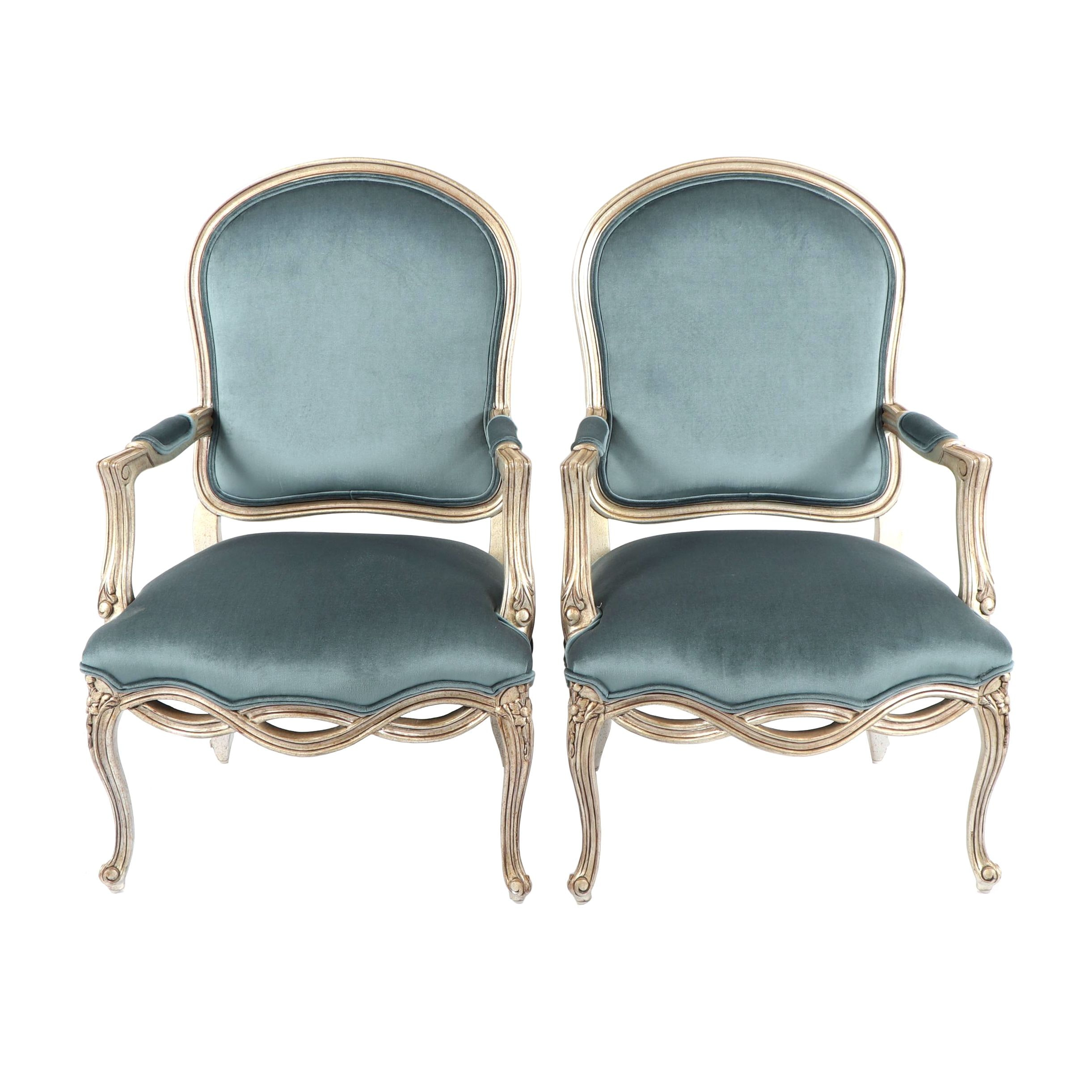 Louis XV Style Upholstered Armchairs, Late 20th Century