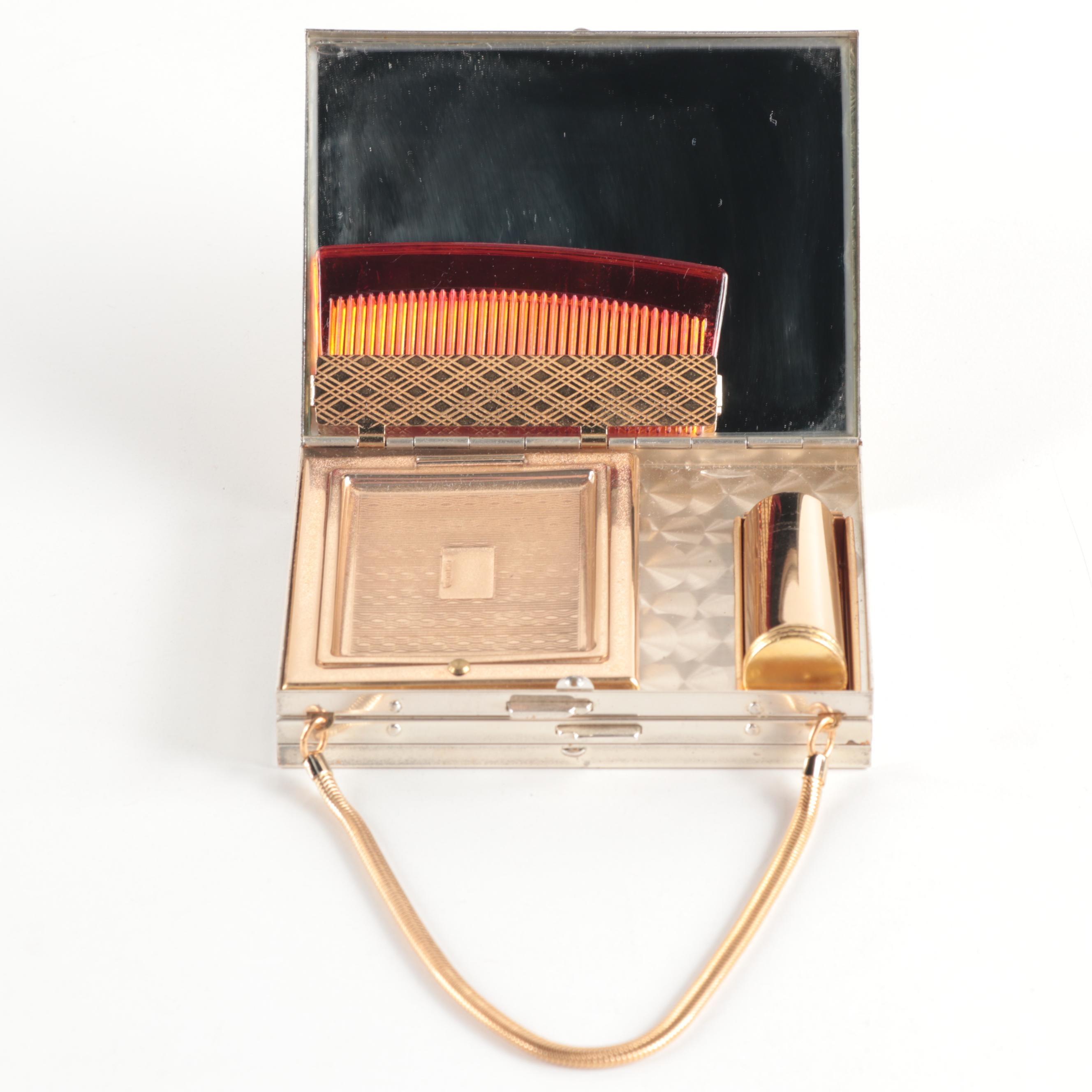 Vintage Gold and Silver Tone Floral Motif Compact Handbag