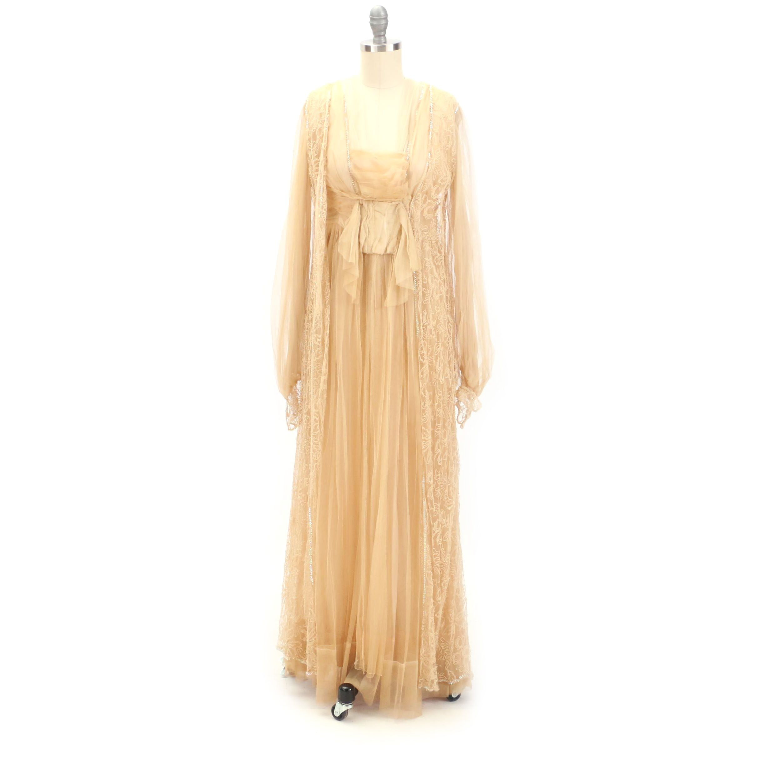Circa 1910s Antique Edwardian Embroidered Tulle and Silk Gown