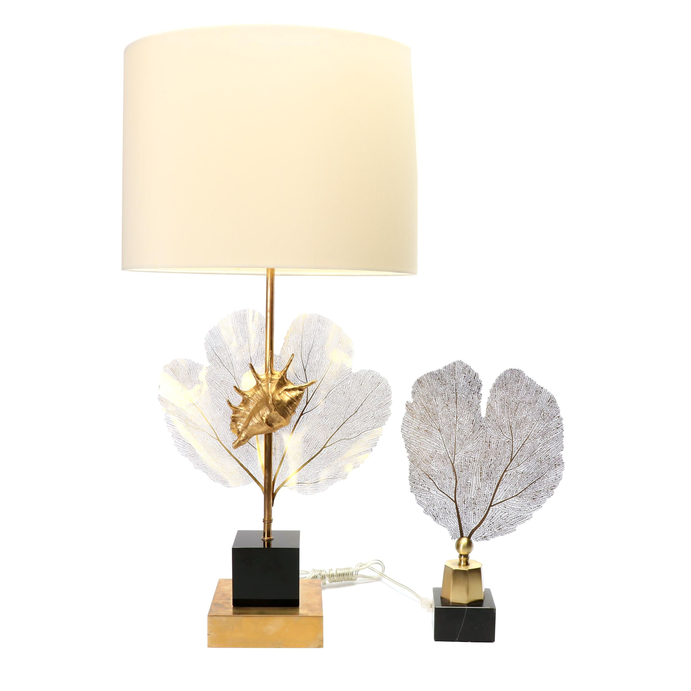 John-Richard Brass Sea Fern and Seashell Table Lamp with Unlabelled Sculpture
