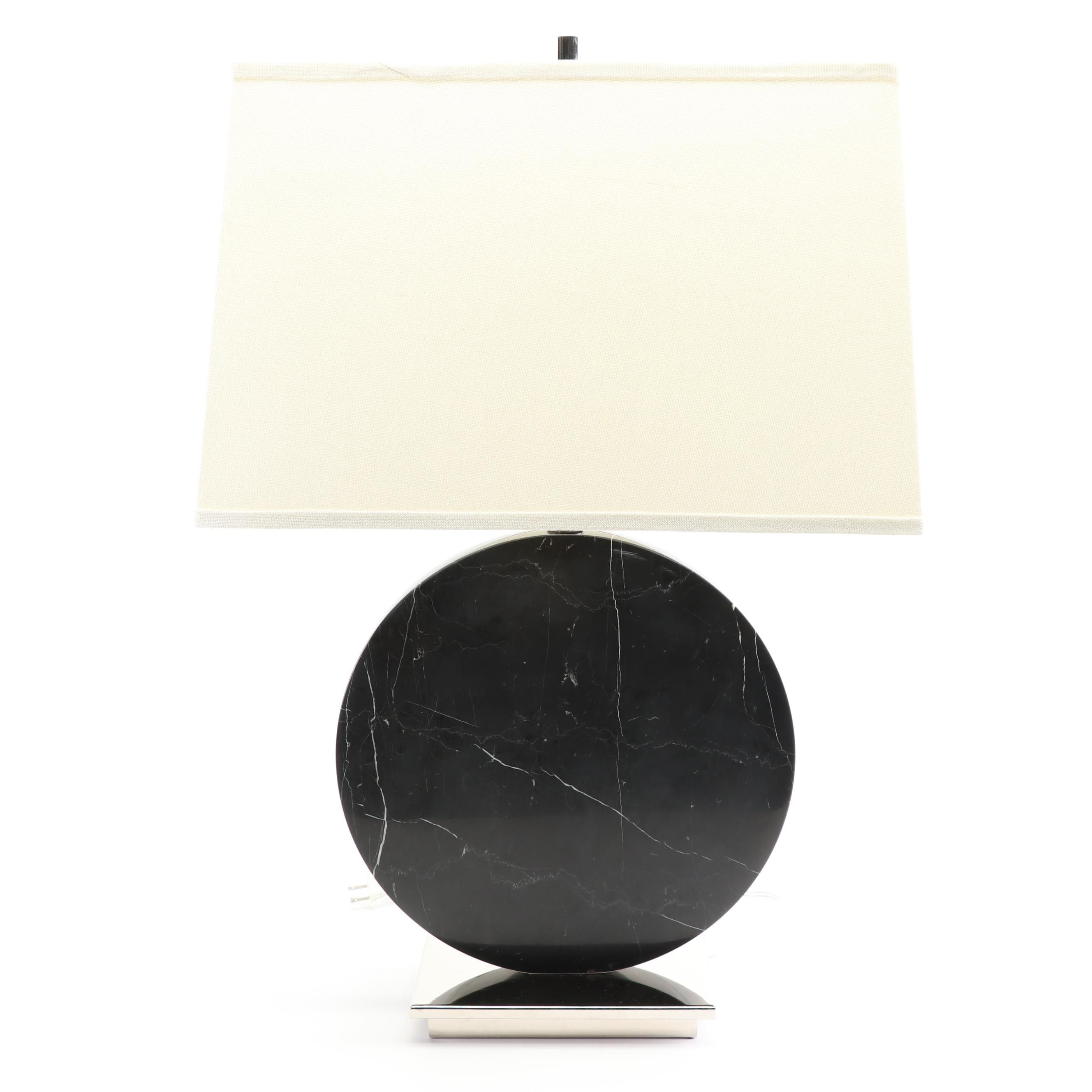 Contemporary Black Marble Disc Table Lamp with Rectangular Fabric Covered Shade