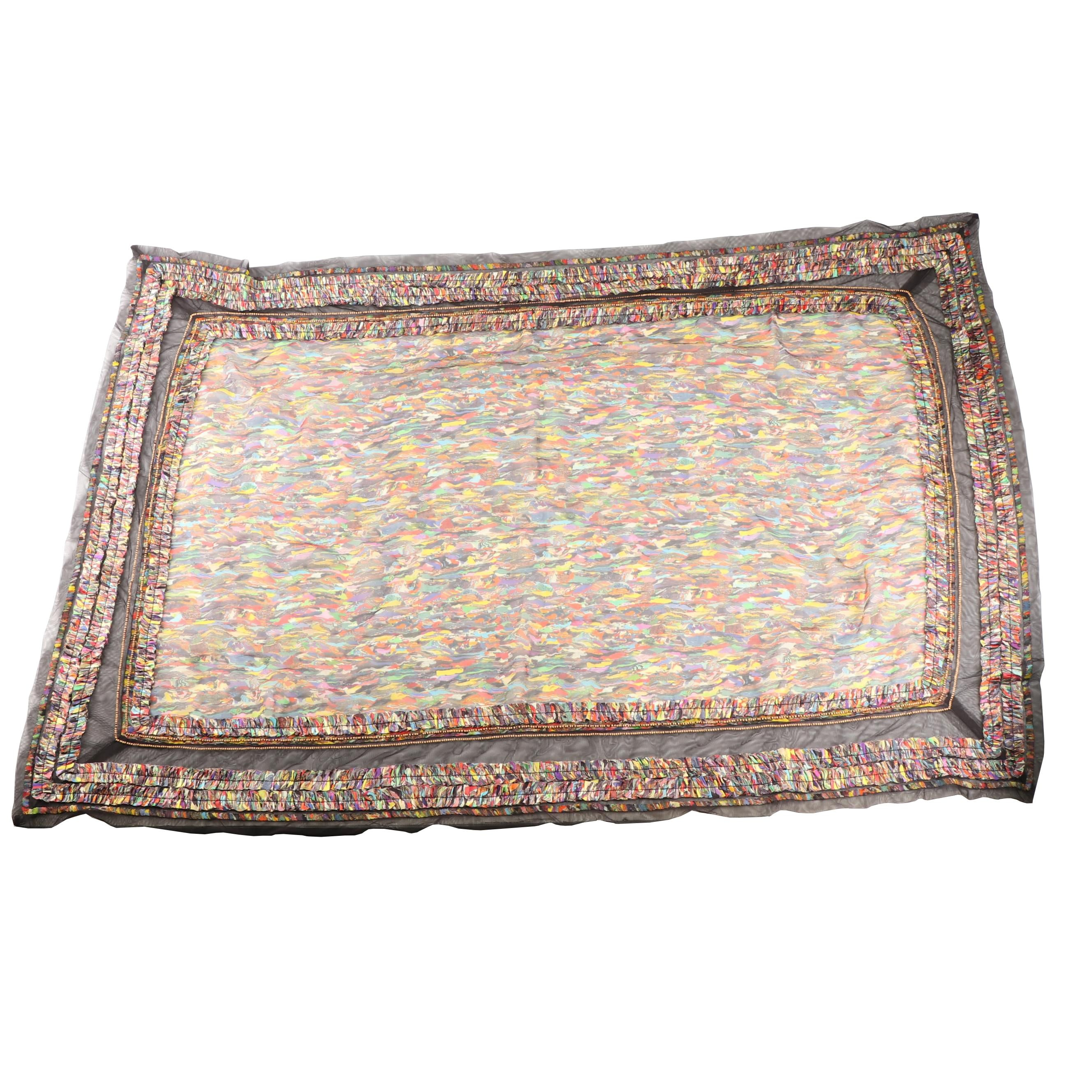 Dries Van Noten Multicolored Silk Blend Scarf with Tulle and Bead Embellishments