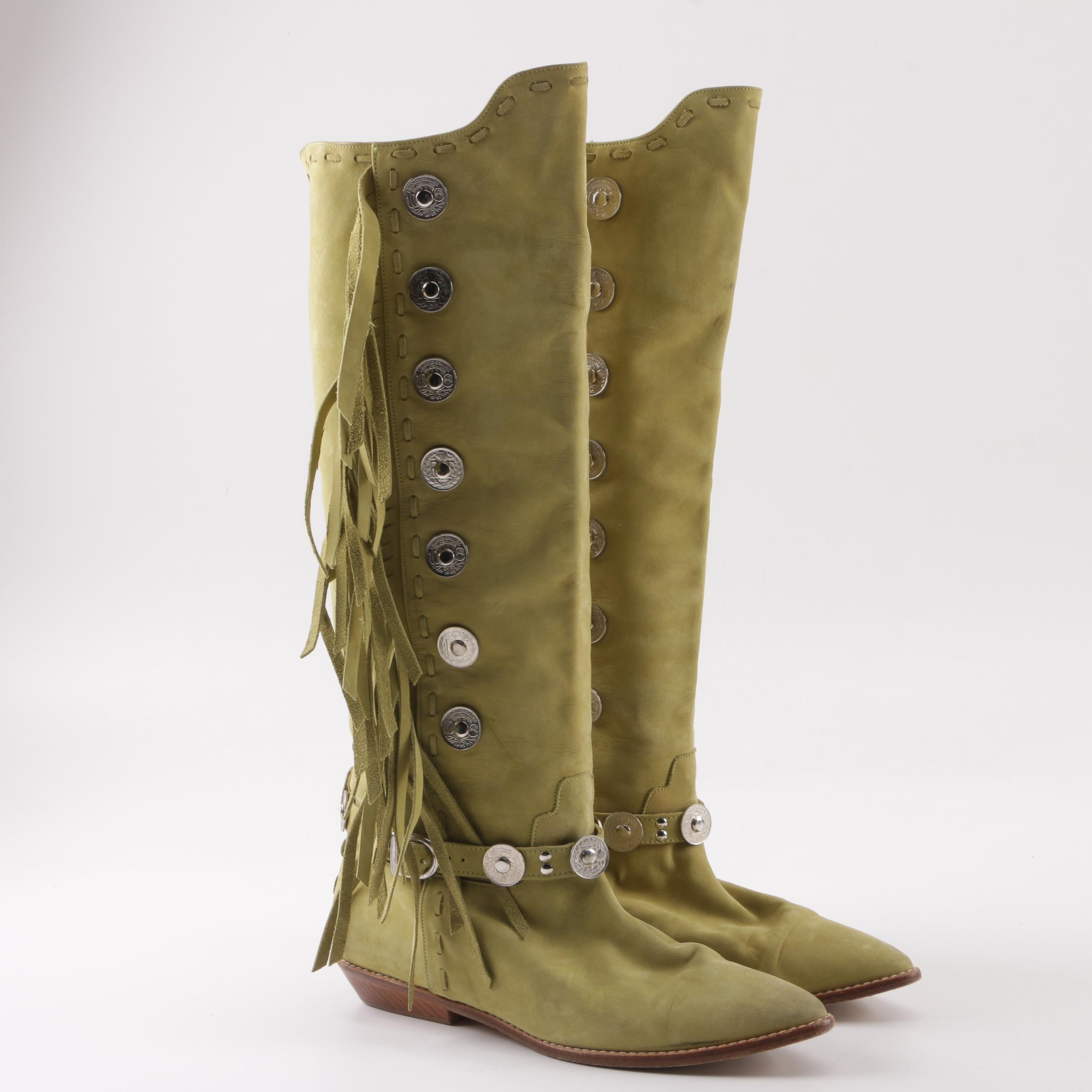 Vintage Donald J Pliner Leather Fringed Western Boots with Coin Accents