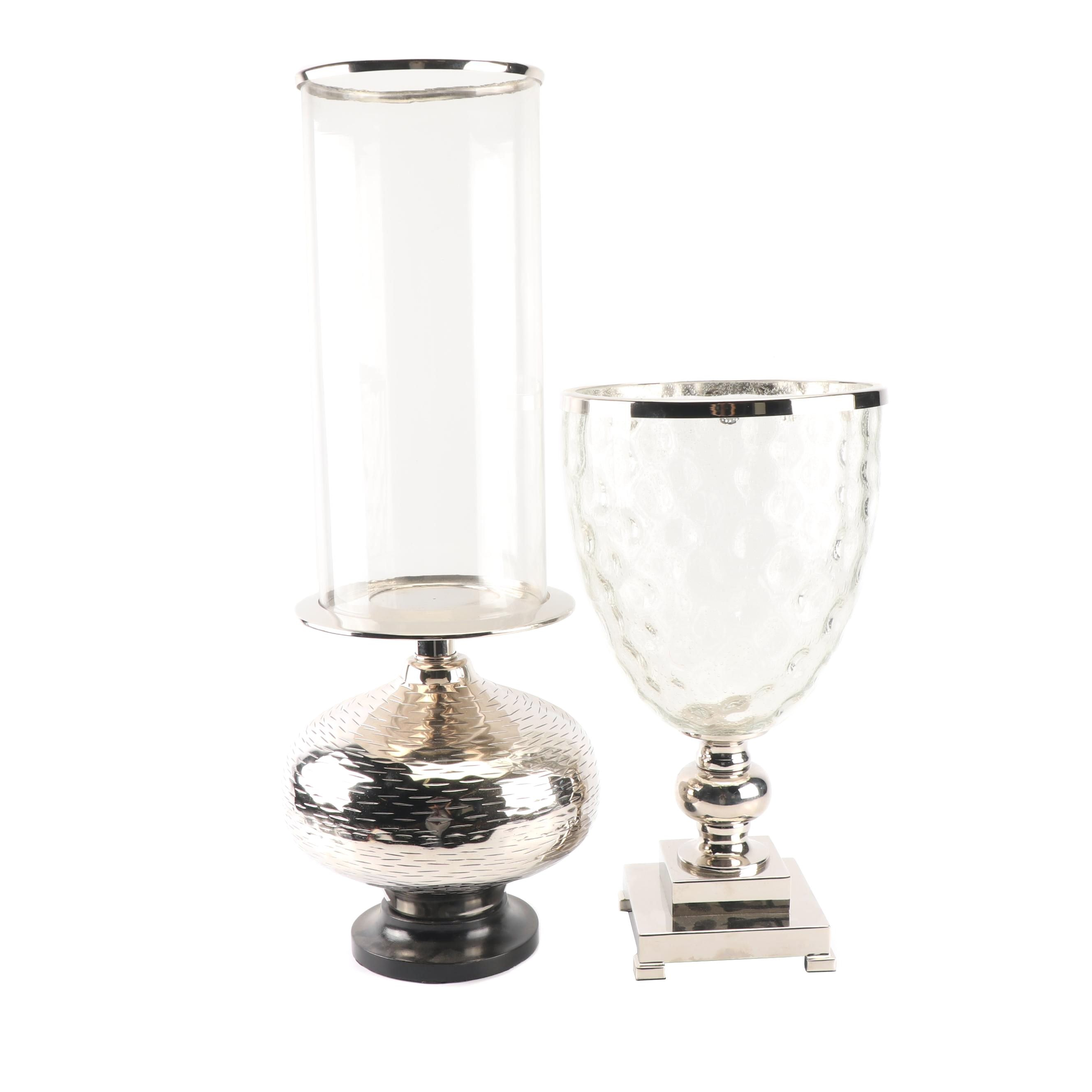 Contemporary Chrome and Glass Candle Hurricanes