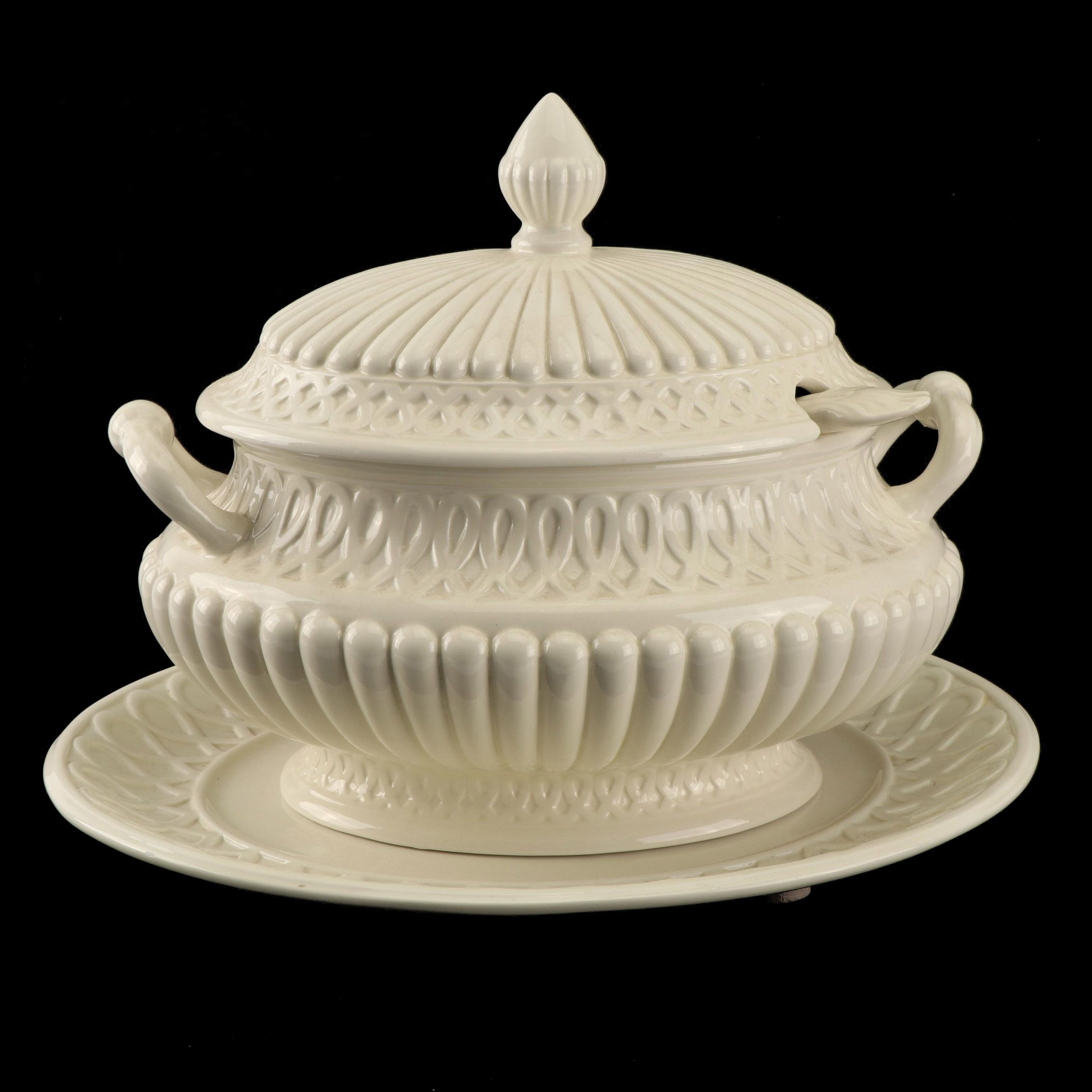 Creamware Soup Tureen With Underplate and Ladle