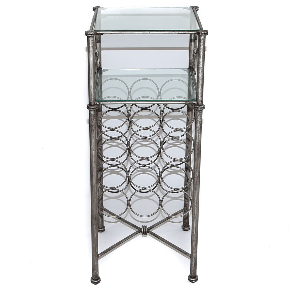 Contemporary Glass and Metal Side Table with Wine Rack