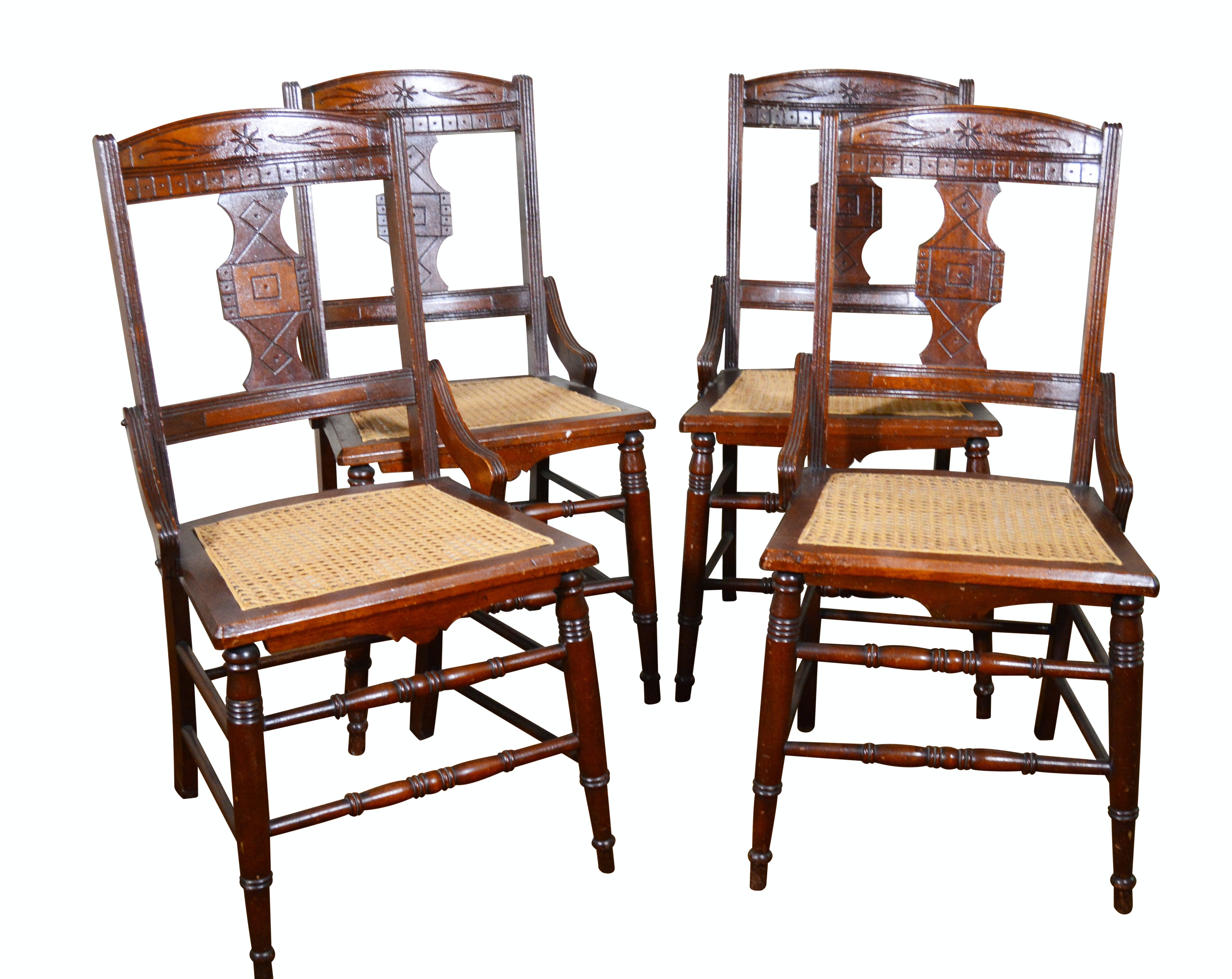 Four Eastlake Walnut Side Chairs, Late 19th Century