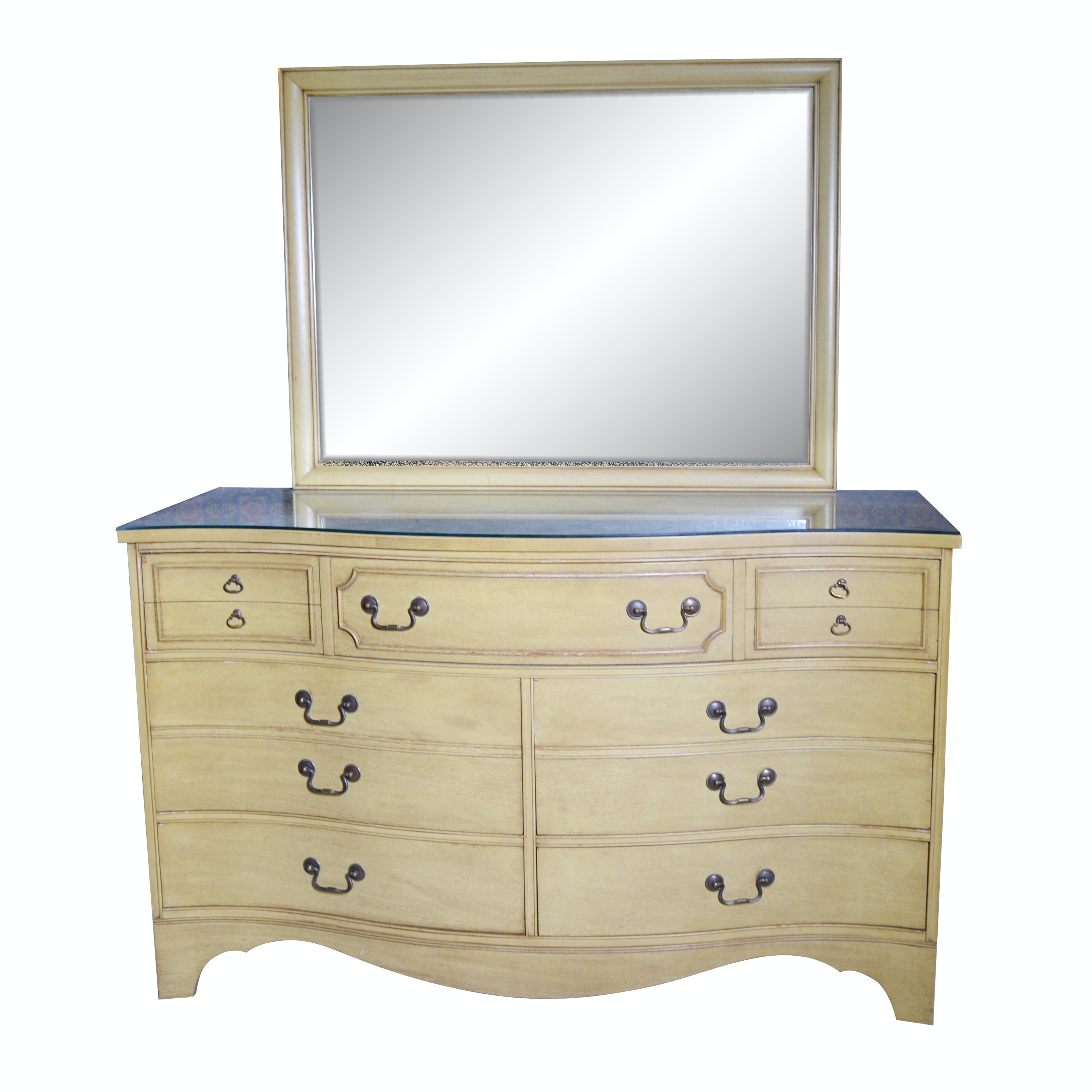 George III Style Mahogany Chest of Drawers with Mirror, Mid-20th Century