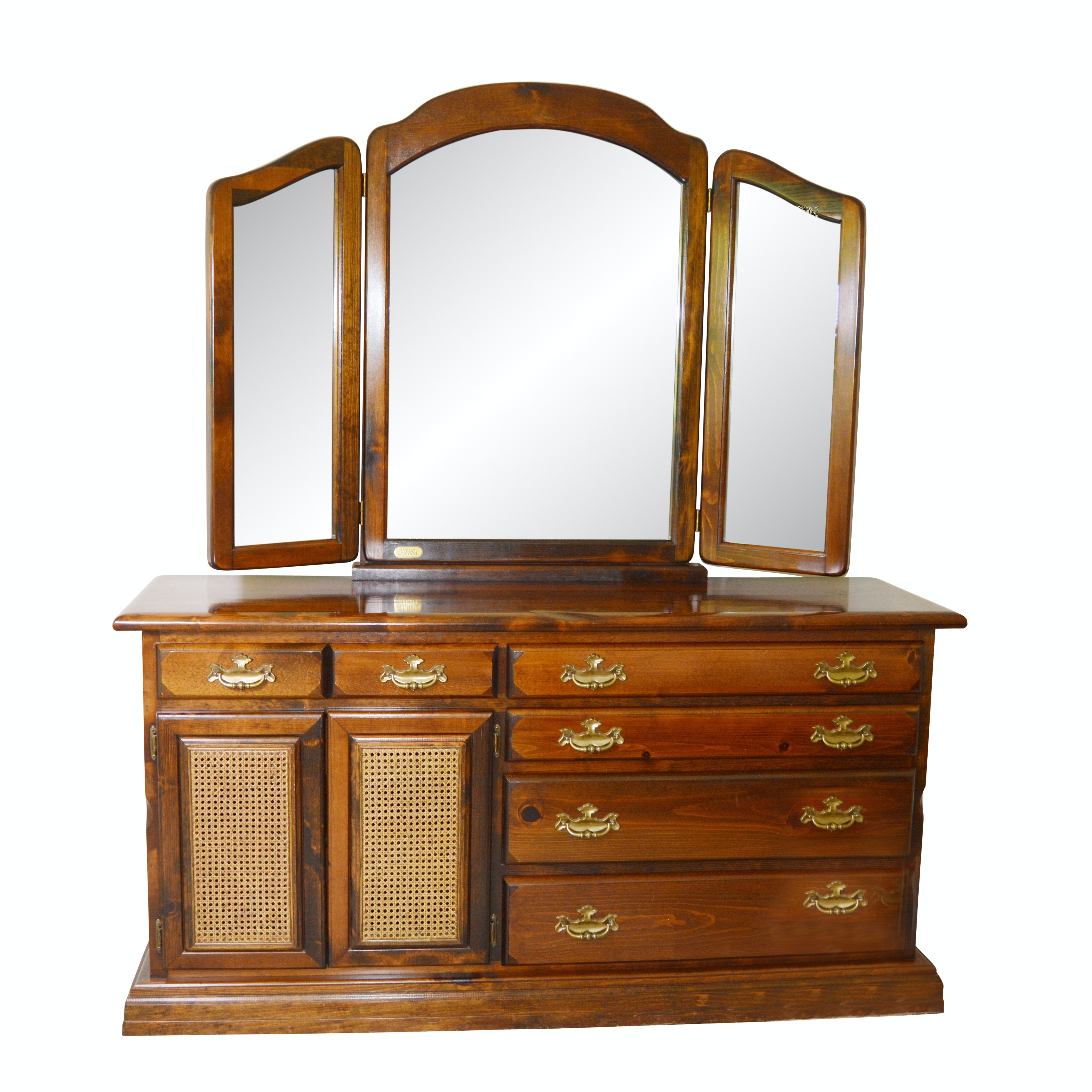 Federal Style Pine Dresser and Mirror, Late 20th Century
