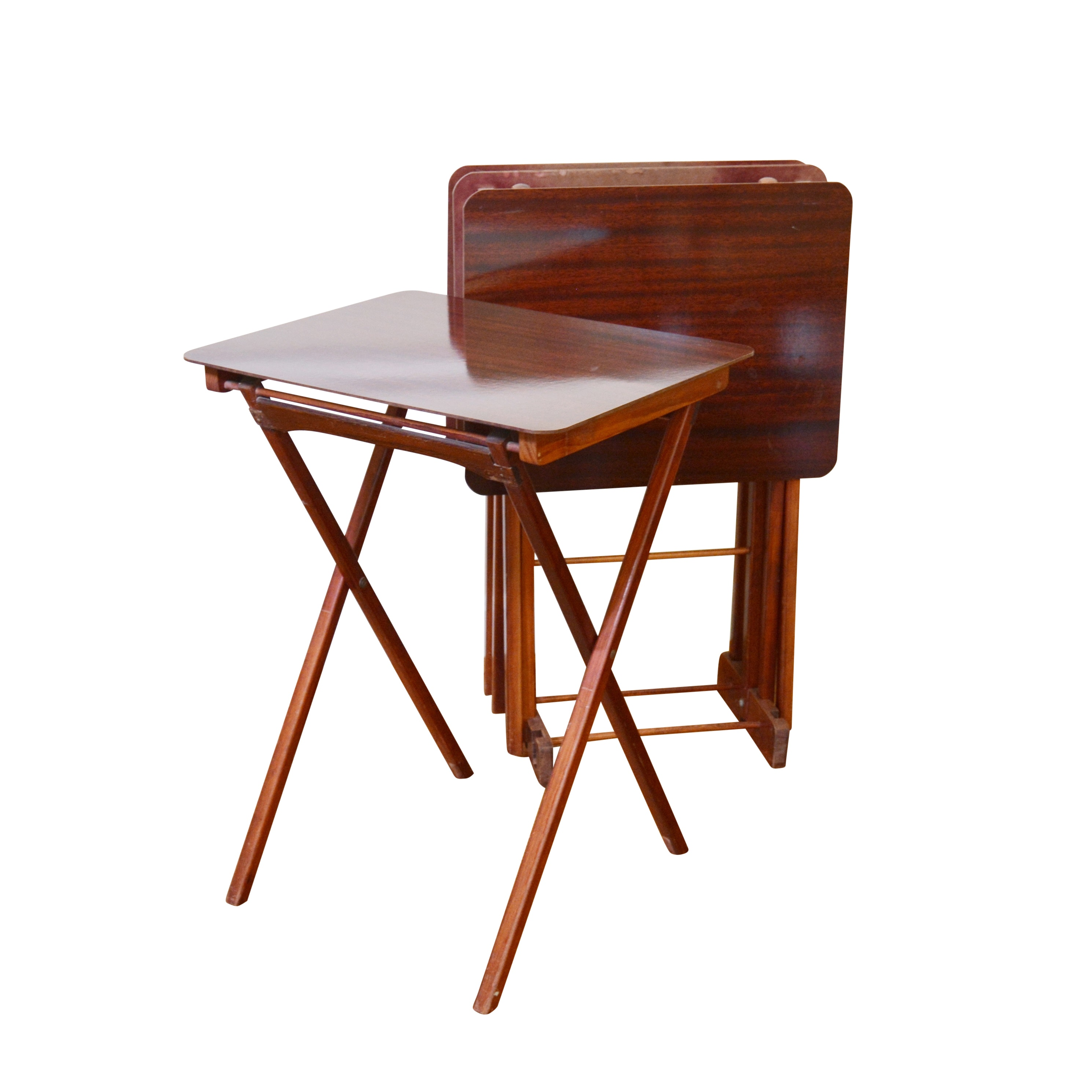 Folding Tray Tables and Stand, Mid-20th Century