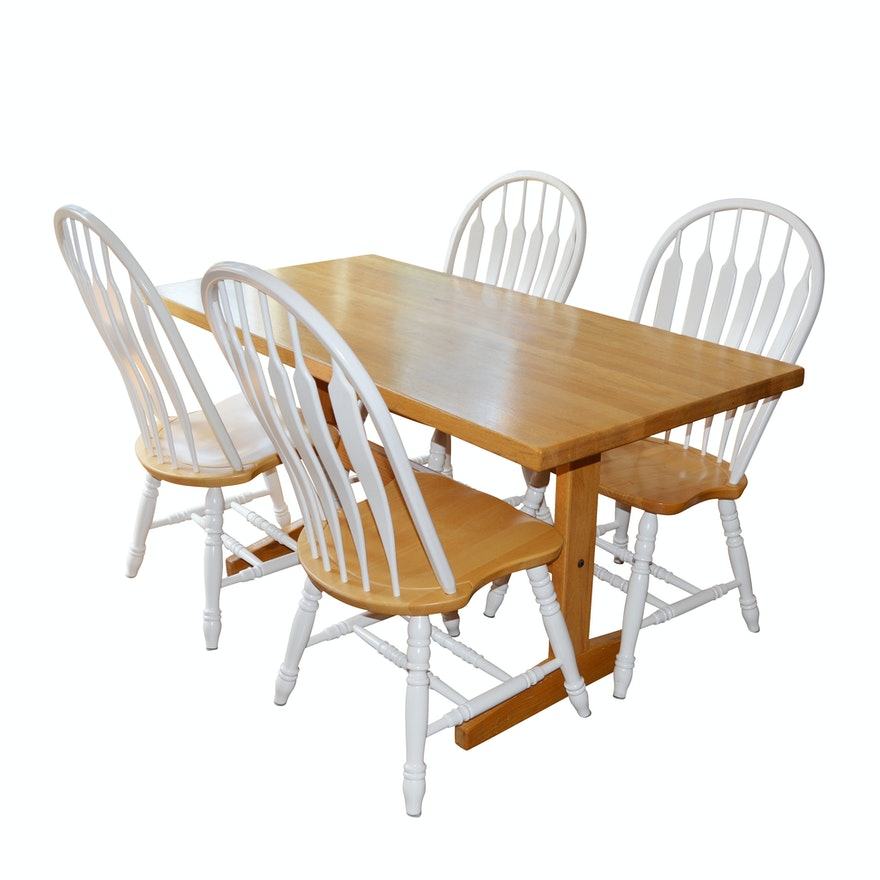 Windsor Style Painted Chairs And Maple Kitchen Table Late 20th Century