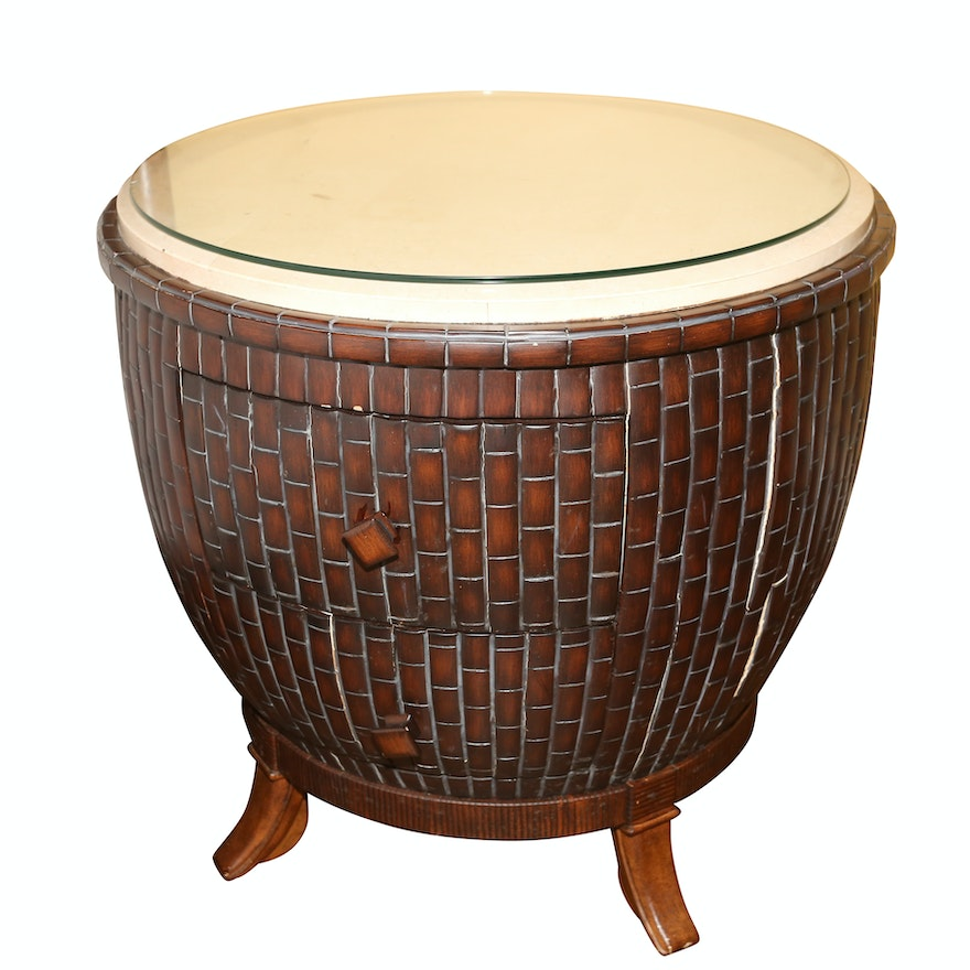 African Drum Style End Table