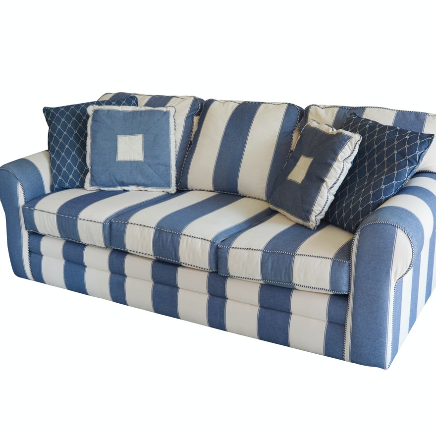 Denim Blue And Cream Striped Sofa By J G Hook For Bett Furniture Ebth