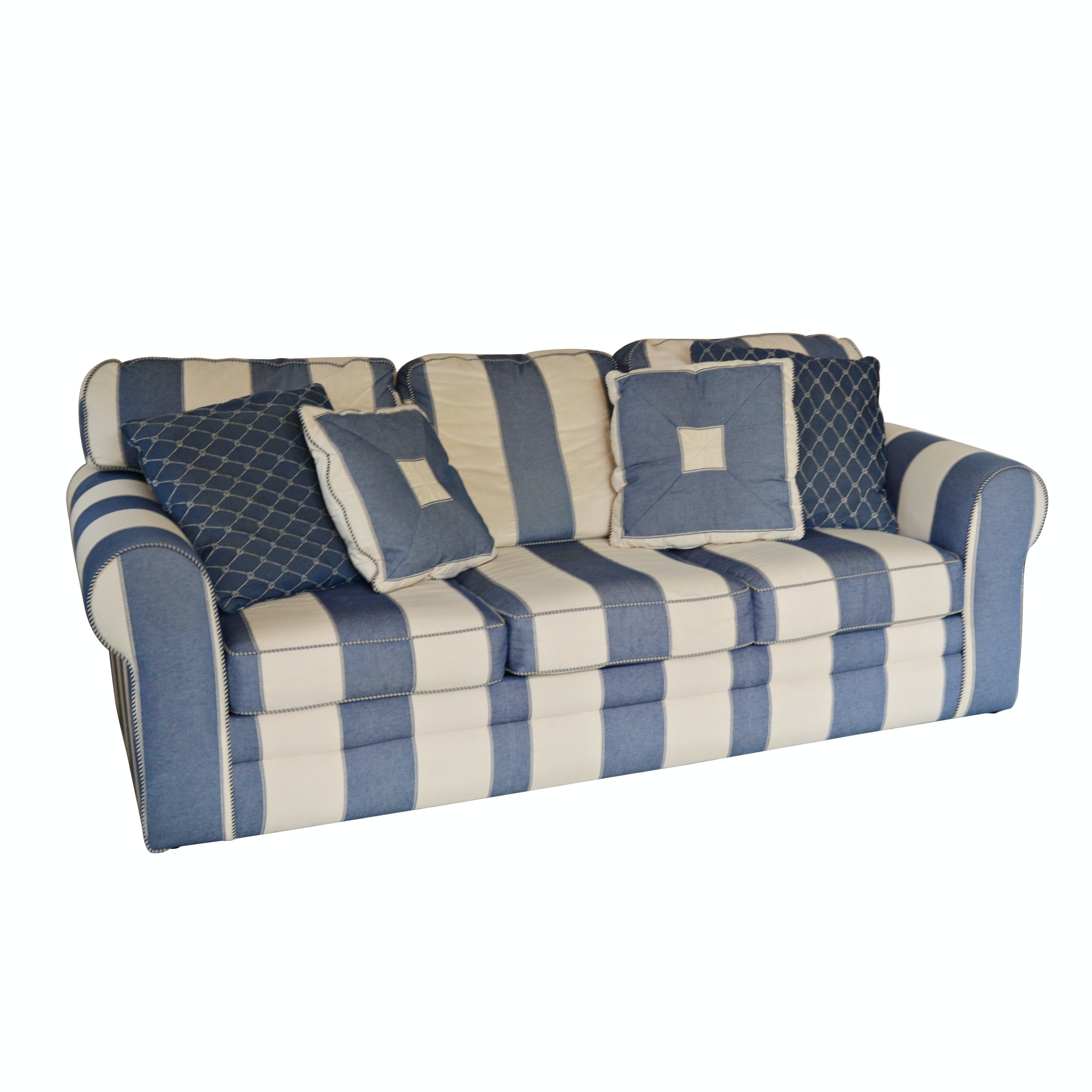 Denim Blue and Cream Striped Sofa by J.G. Hook for Bassett Furniture