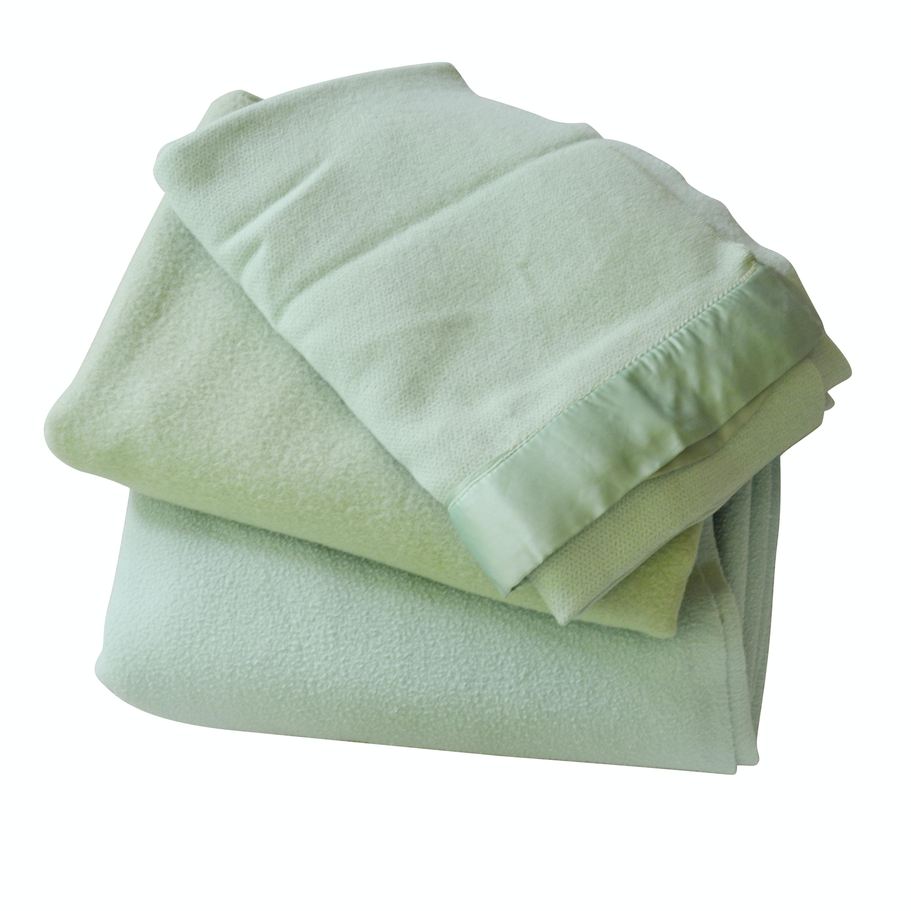 Green Wool Satin Trimmed Queen Blankets