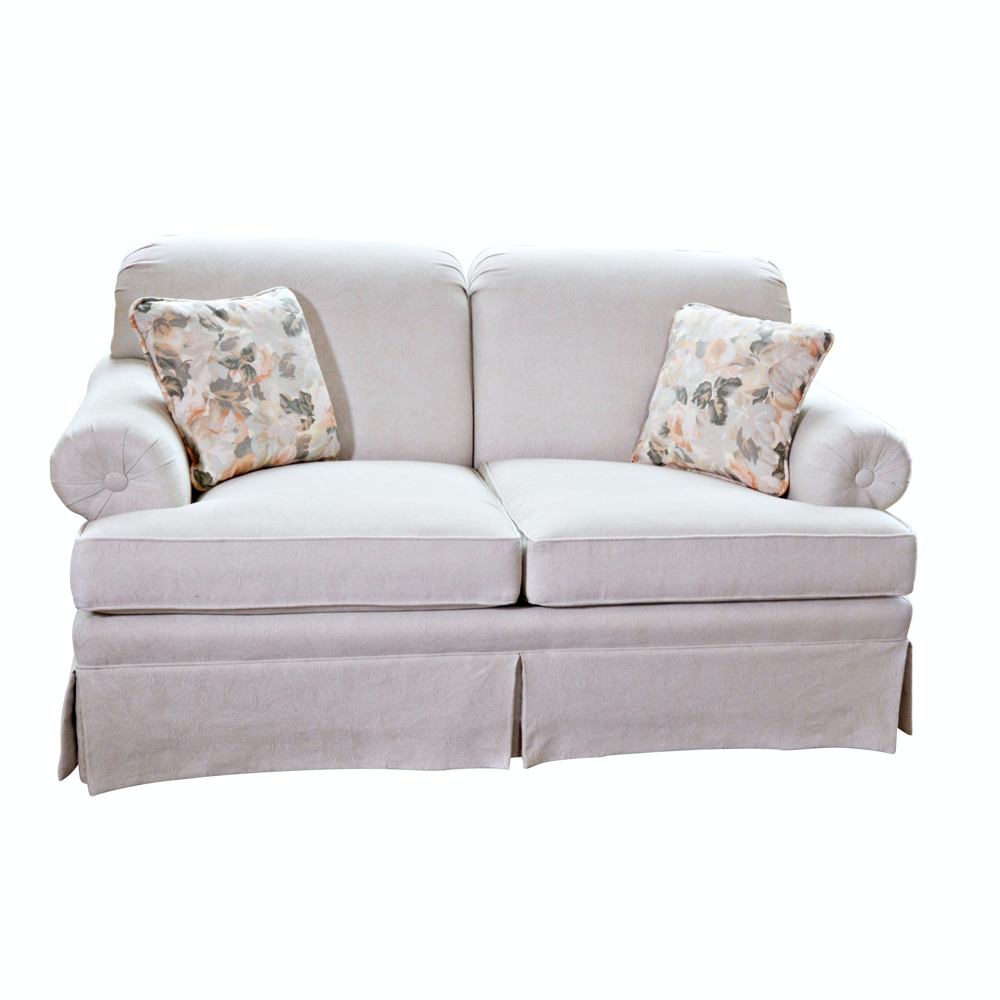 Contemporary Taupe Patterned Loveseat by Ethan Allen