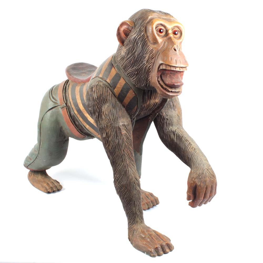 Carved Wooden Carousel Monkey