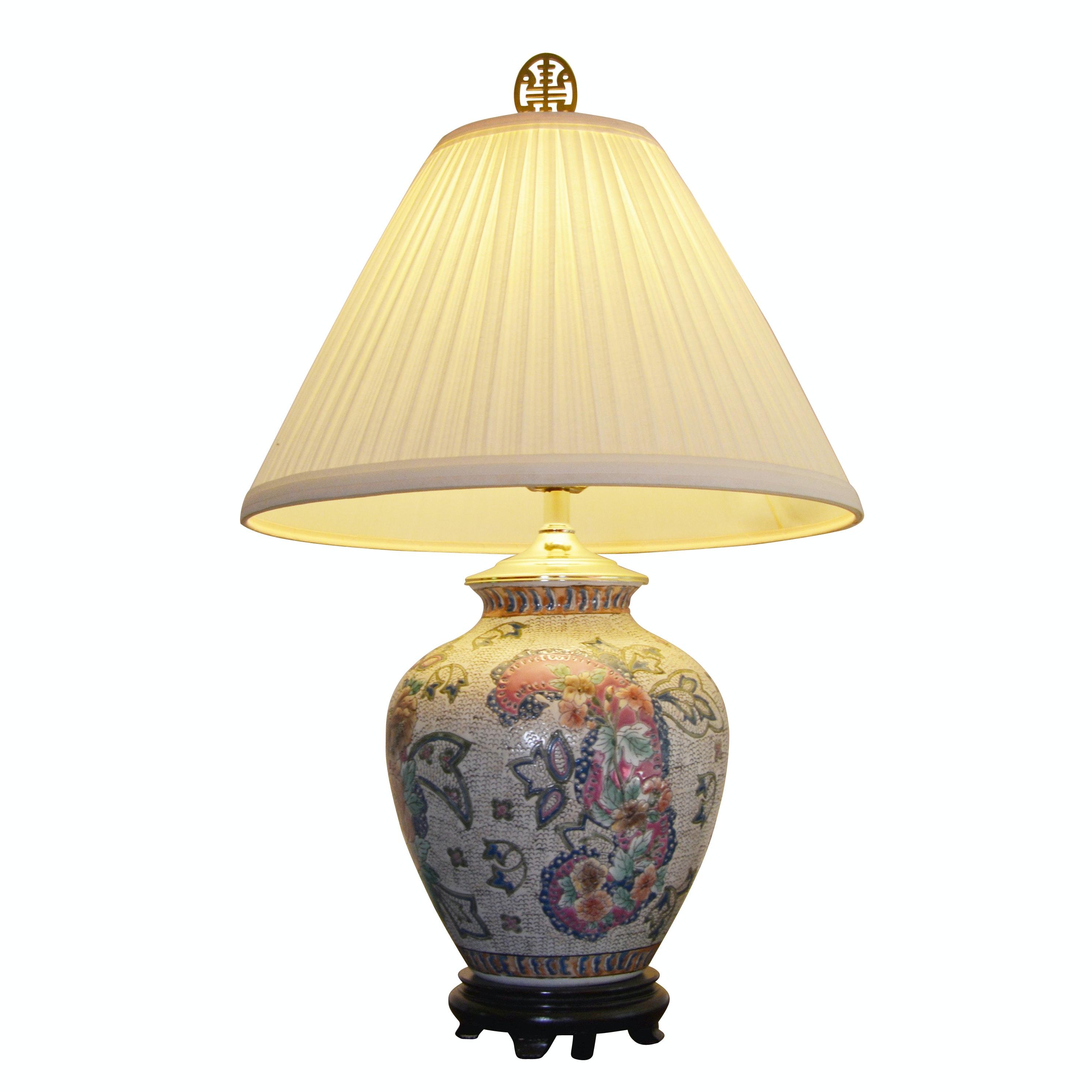 Chinoiserie Ceramic Enameled Table Lamp