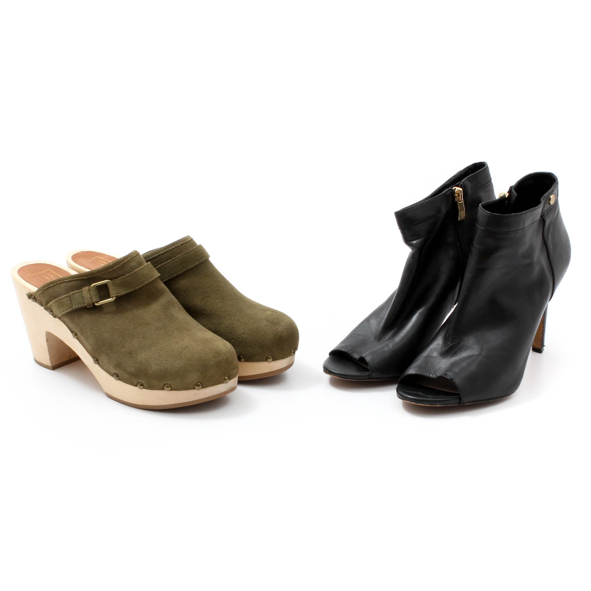 Vince Camuto Open-Toe Black Leather Booties and Gap Olive Suede Clogs