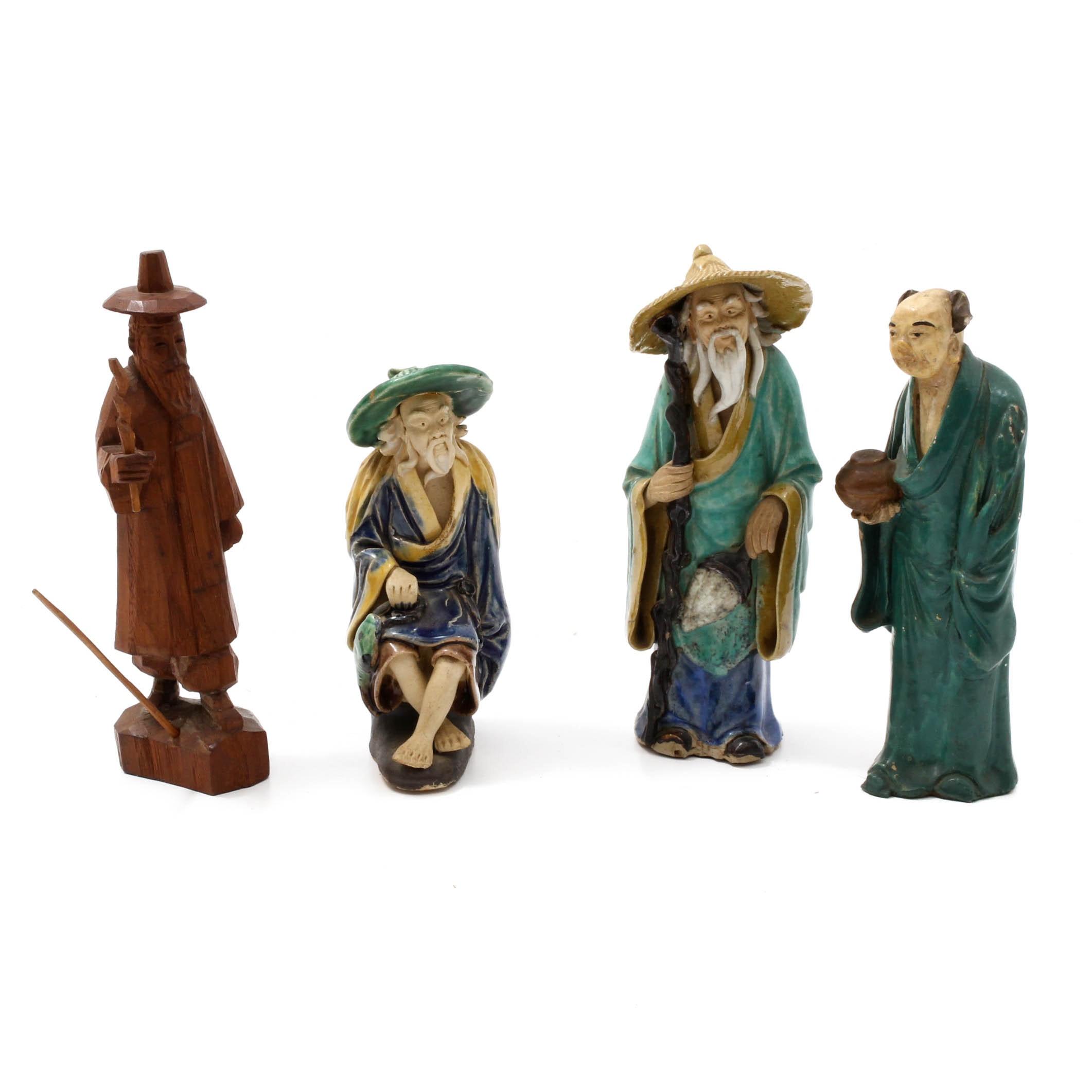 Vintage Chinese Shiwan Ceramic and Korean Wood Figurines