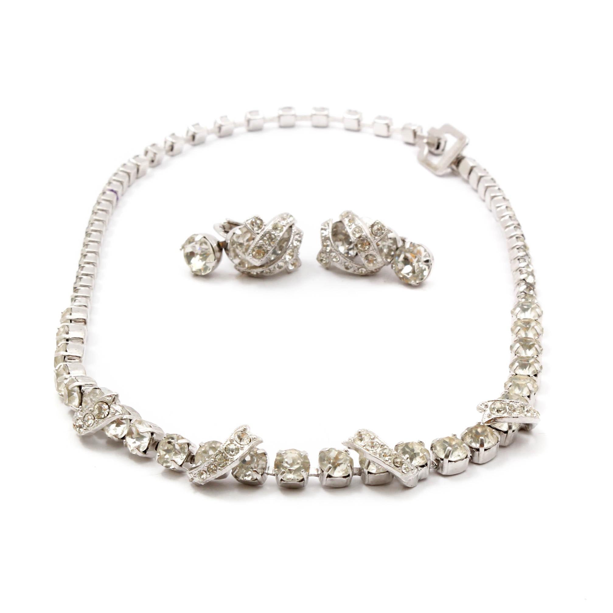 Vintage Eisenberg Ice Rhinestone Necklace and Earrings