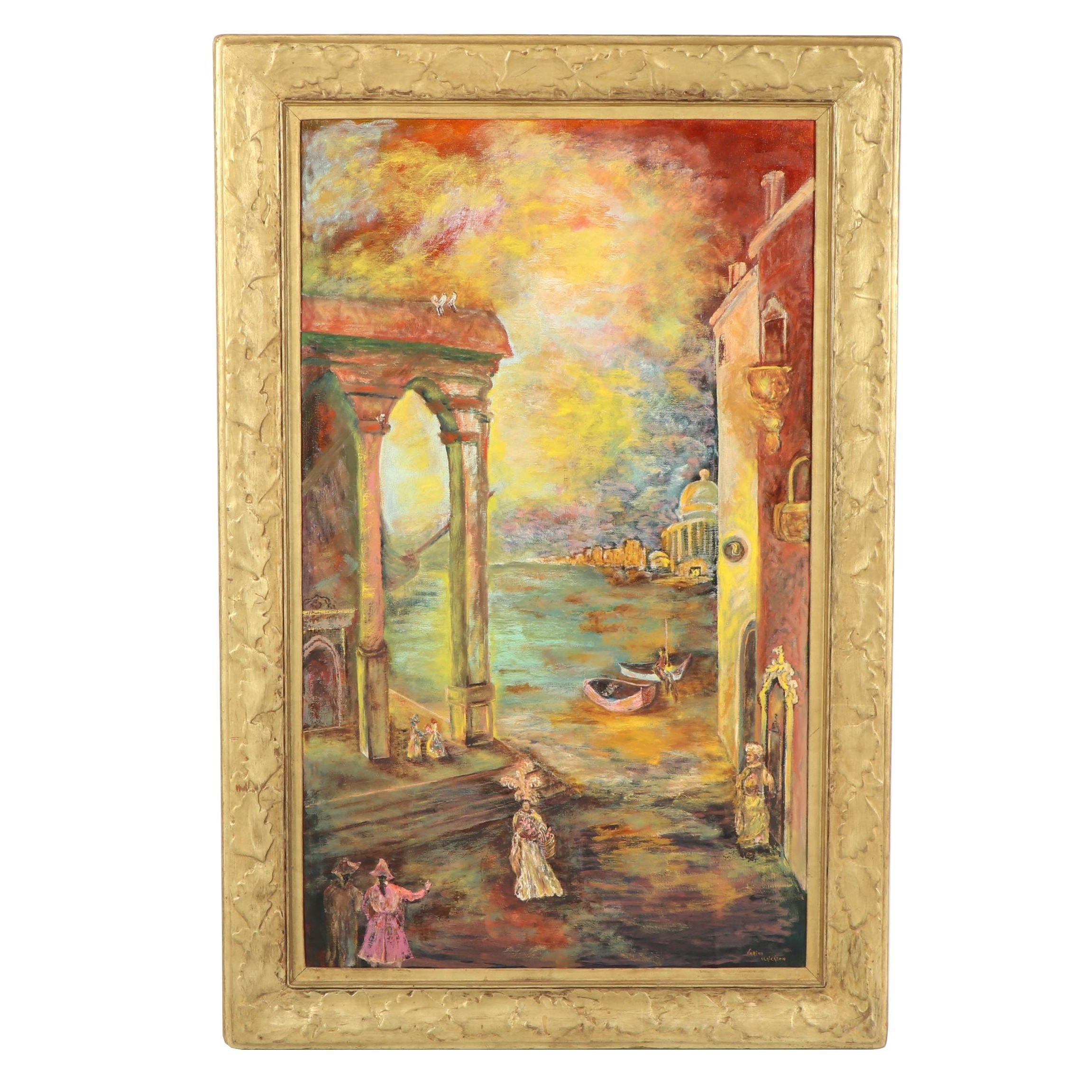Varina Ulrickson Oil Painting of City Scene