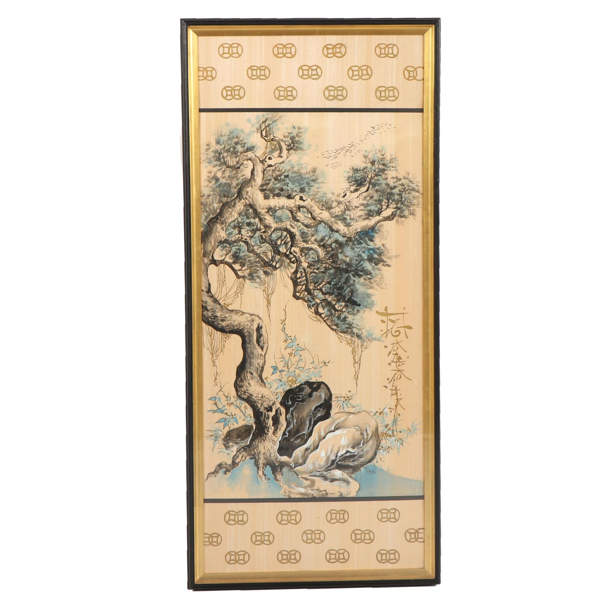 Japanese Gouache on Silk of Tree