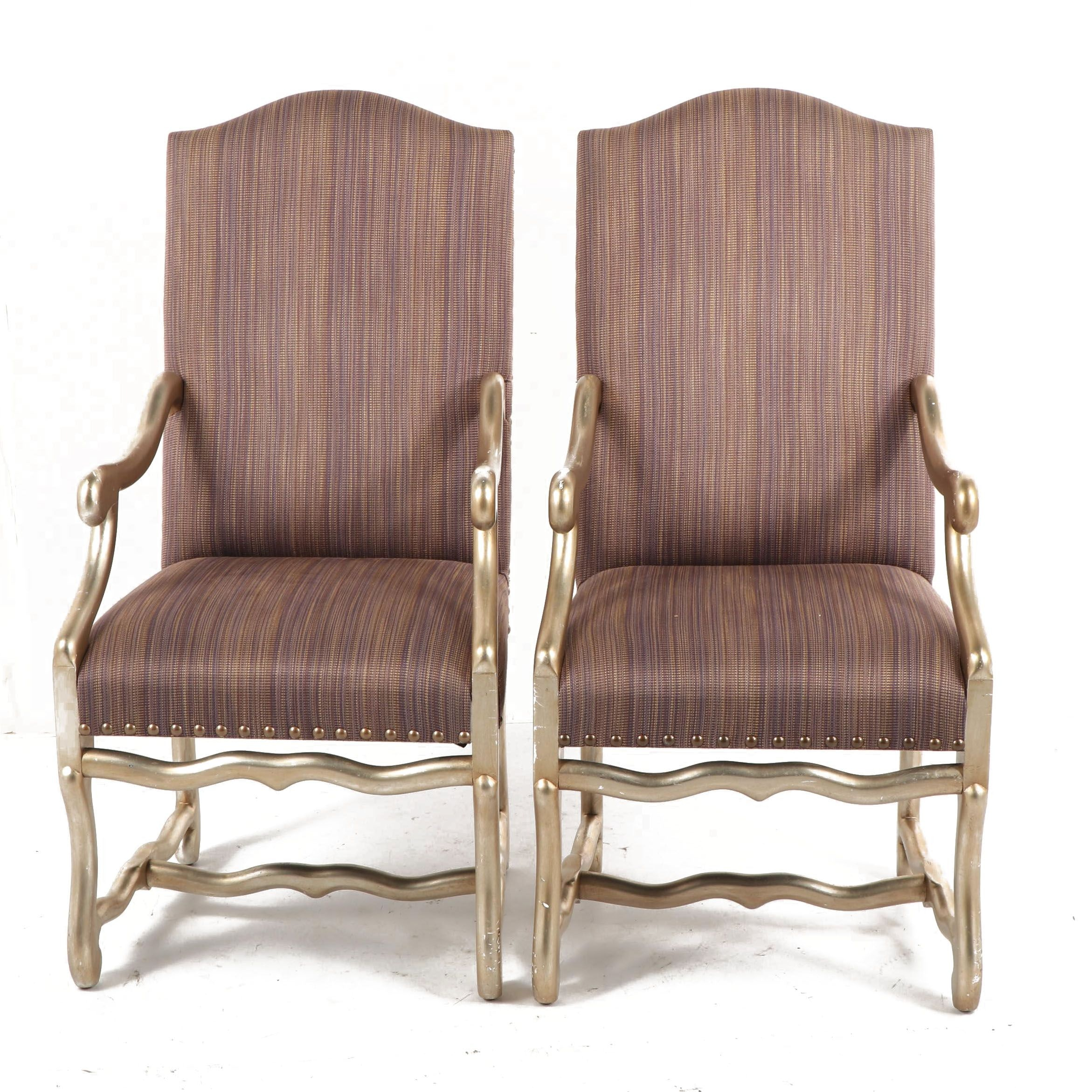 Louis XIII Style Upholstered Armchairs