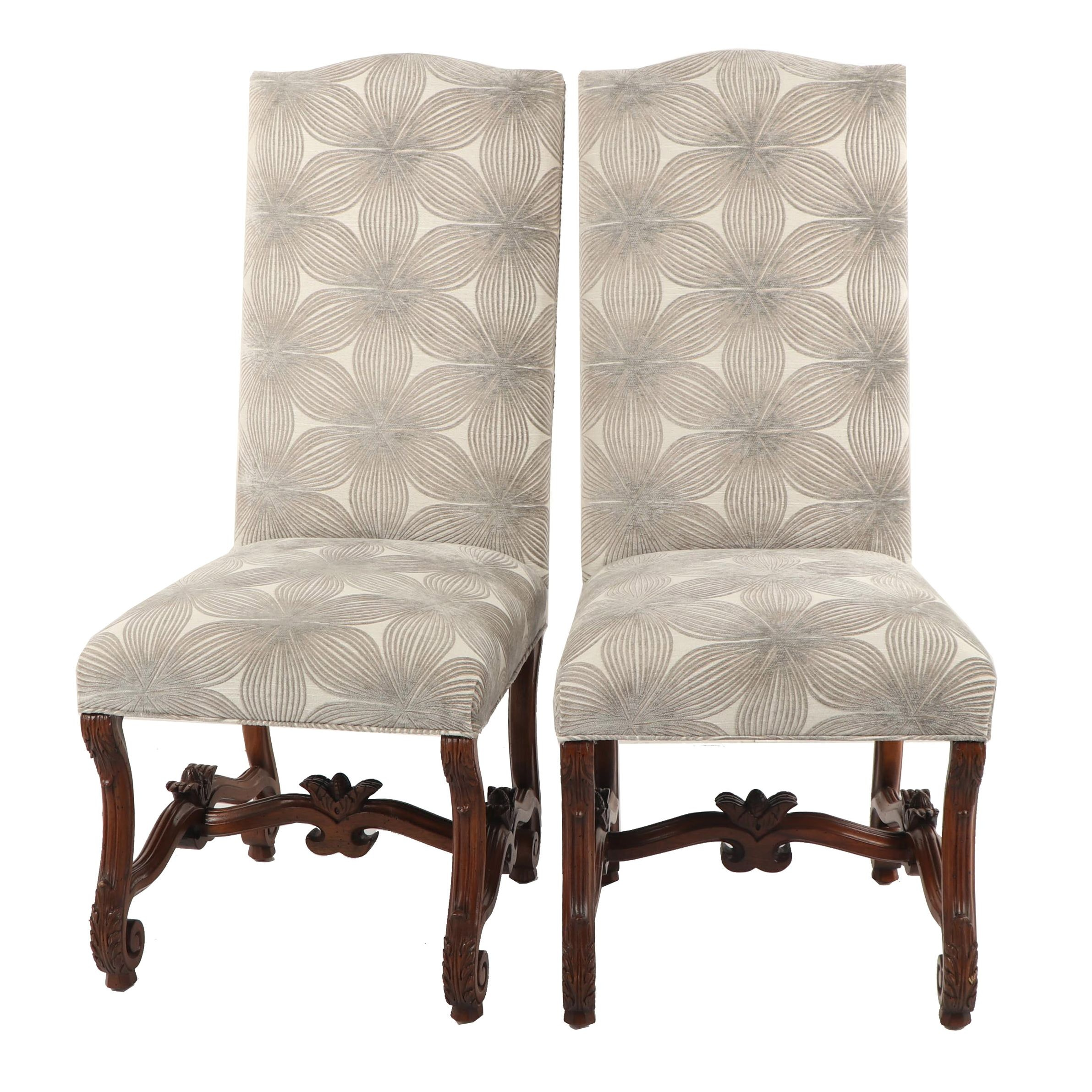 Louis XIII Style Grey Floral Upholstered Dining Chairs