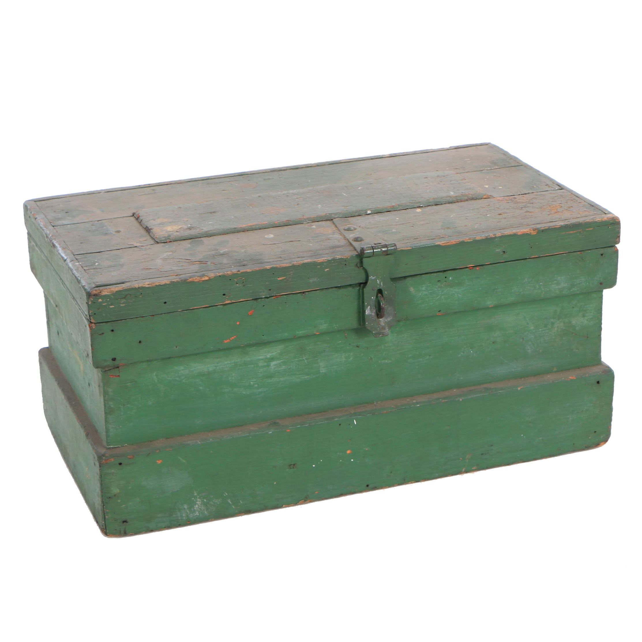Green Painted Coffer Box