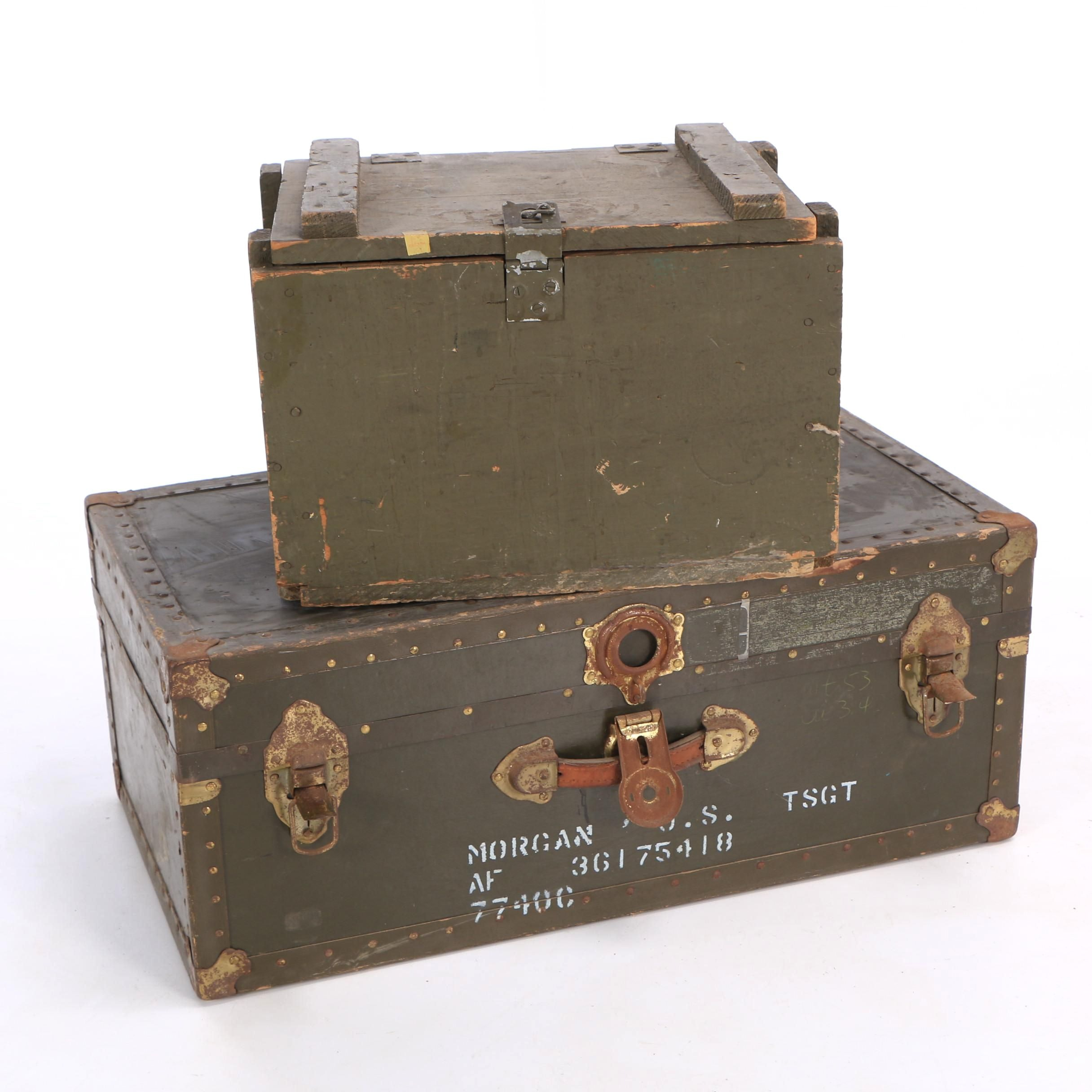 Painted Wooden Foot Locker and Metal Trunk, Mid 20th Century