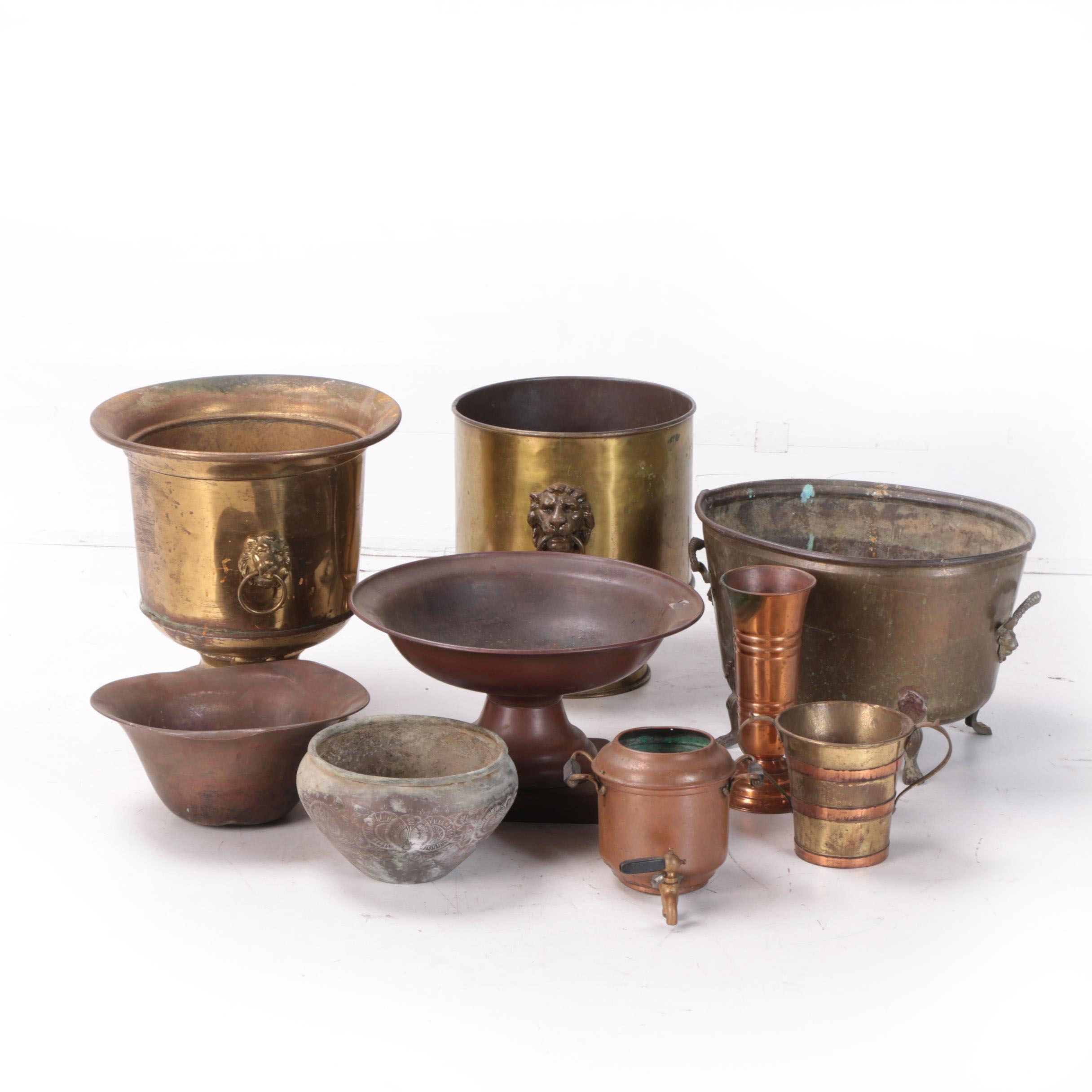 Vintage Brass and Metal Planters including Sternau