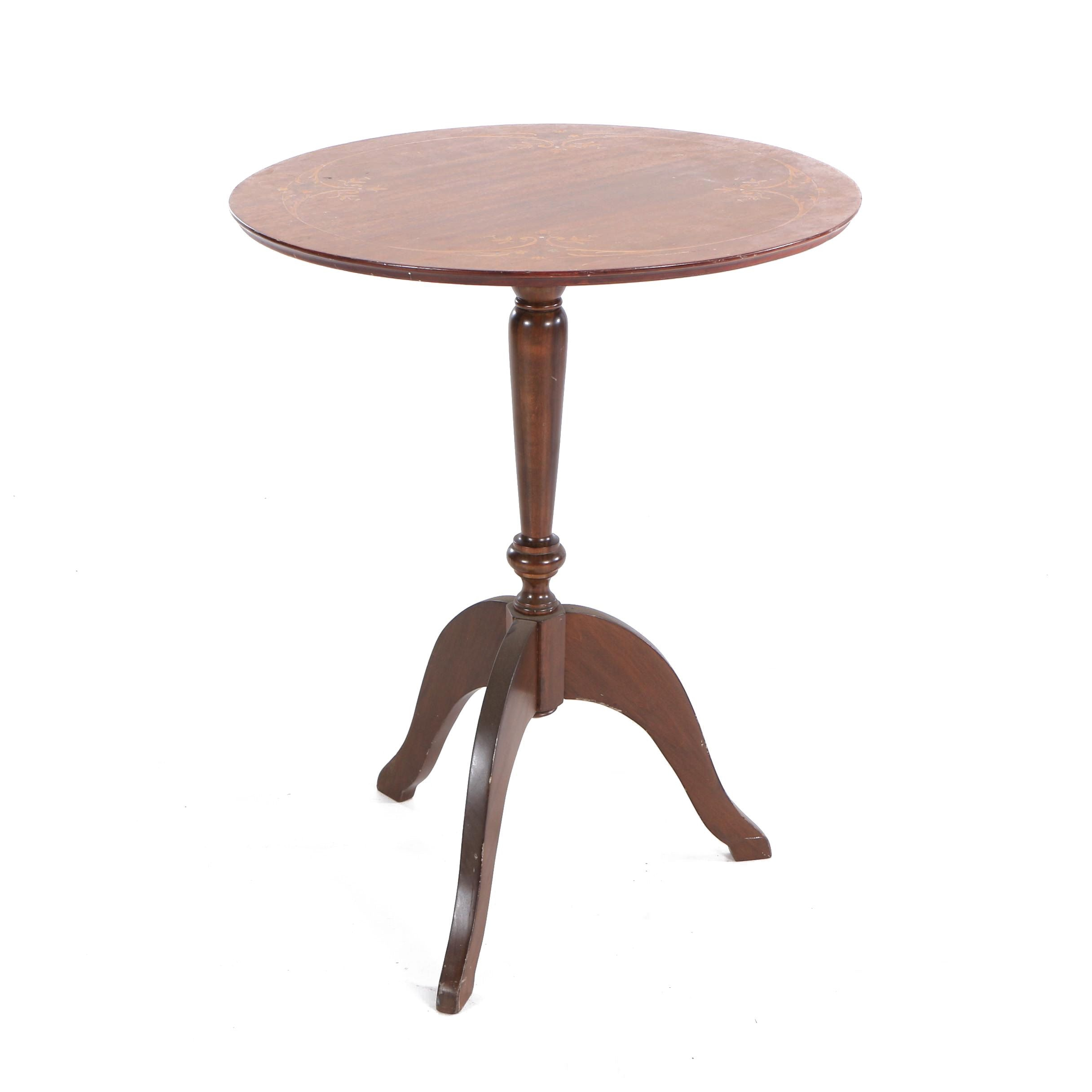 Floral Marquetry and Mother-of-Pearl Inlay Tilt Top Table
