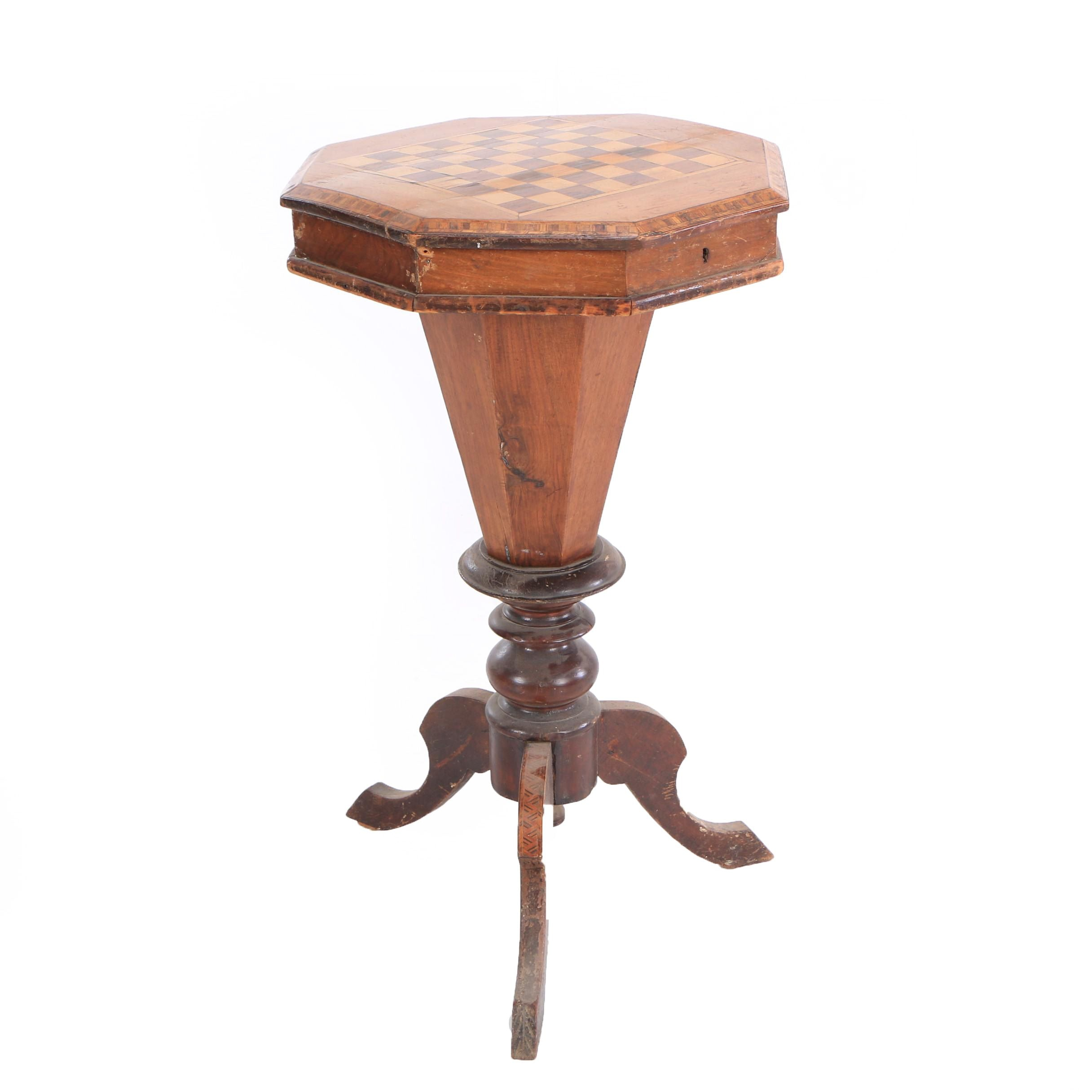 Victorian Sewing Table with Chess Board Top