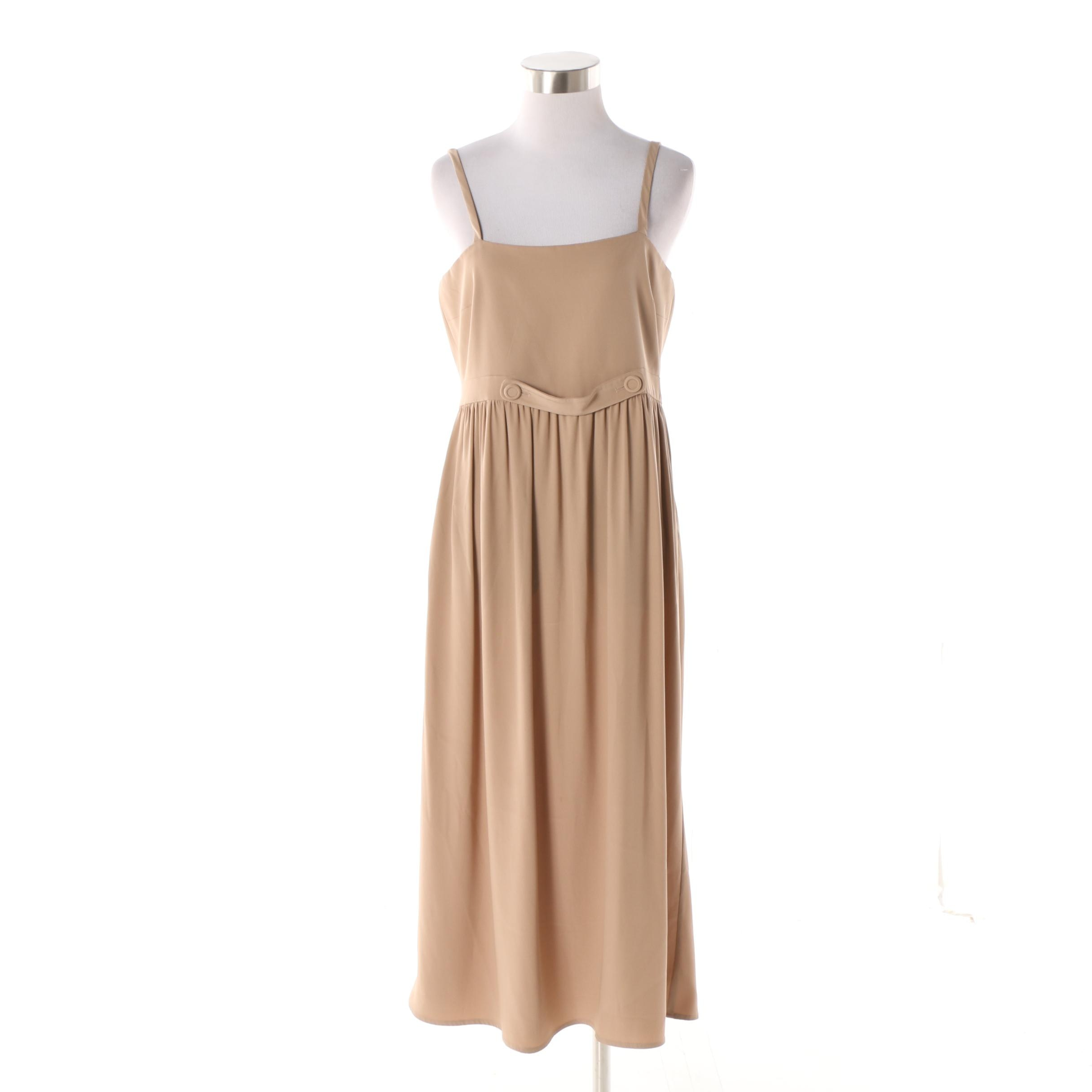 Modello Giulietta of New York Italian Made Tan Spaghetti Strap Apron Dress
