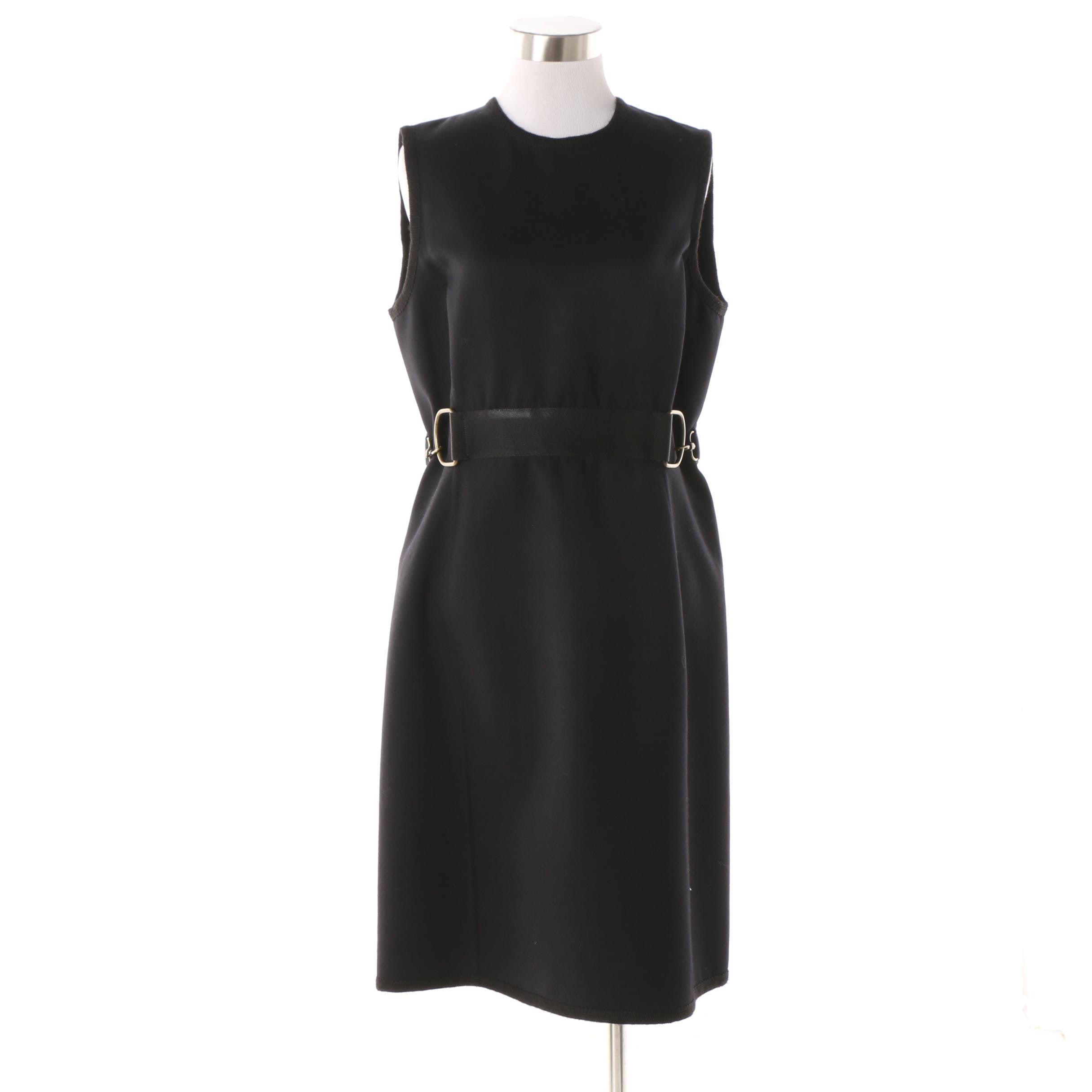 Women's Michael Kors Black Wool Belted Sheath Dress