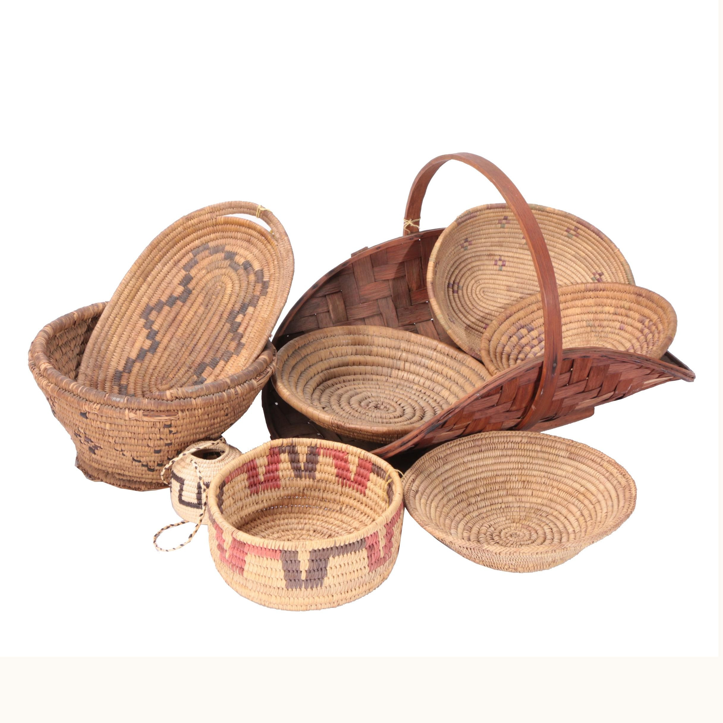 Vintage Woven Grass and Wood Baskets
