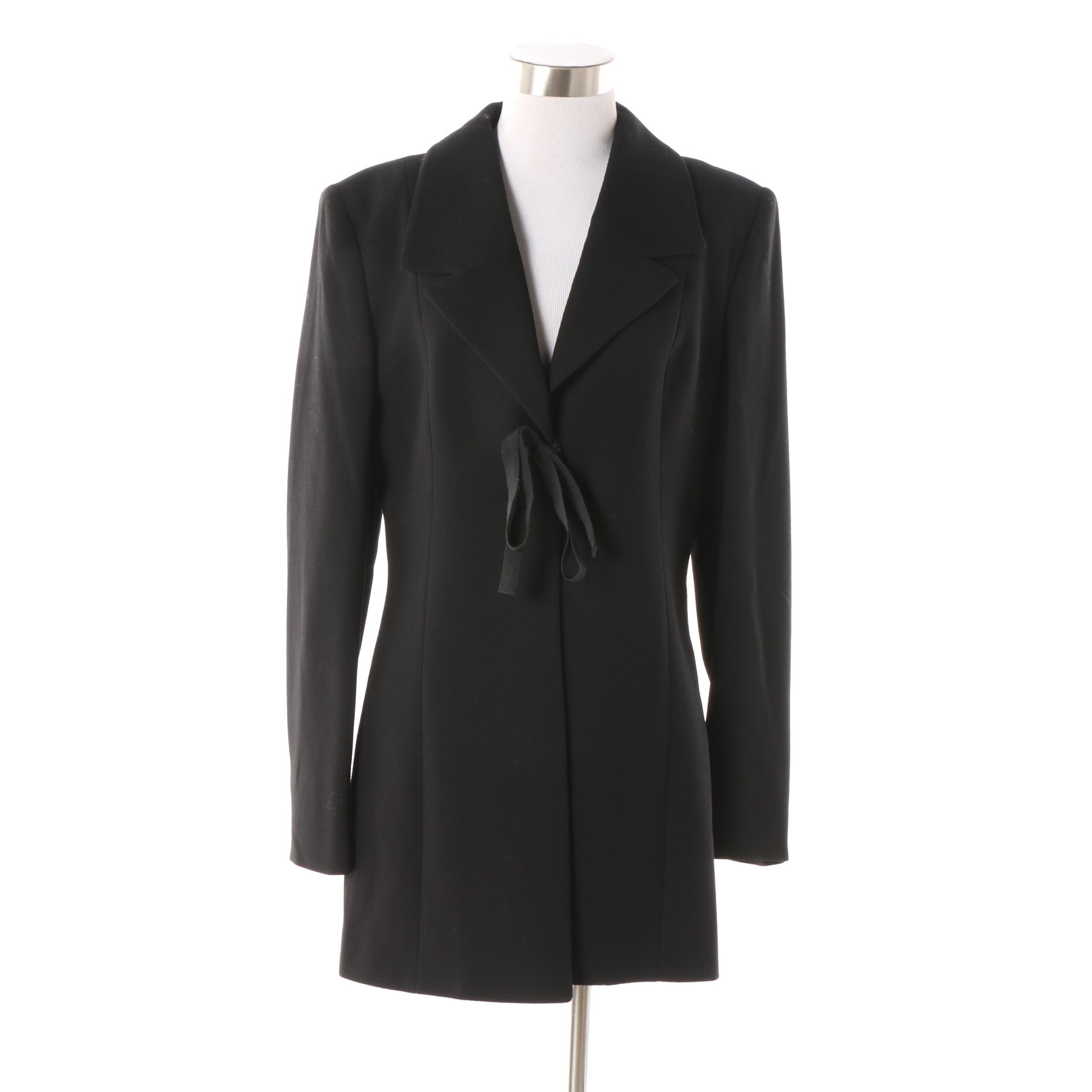 Women's Barneys New York Black Wool Tie-Front Jacket