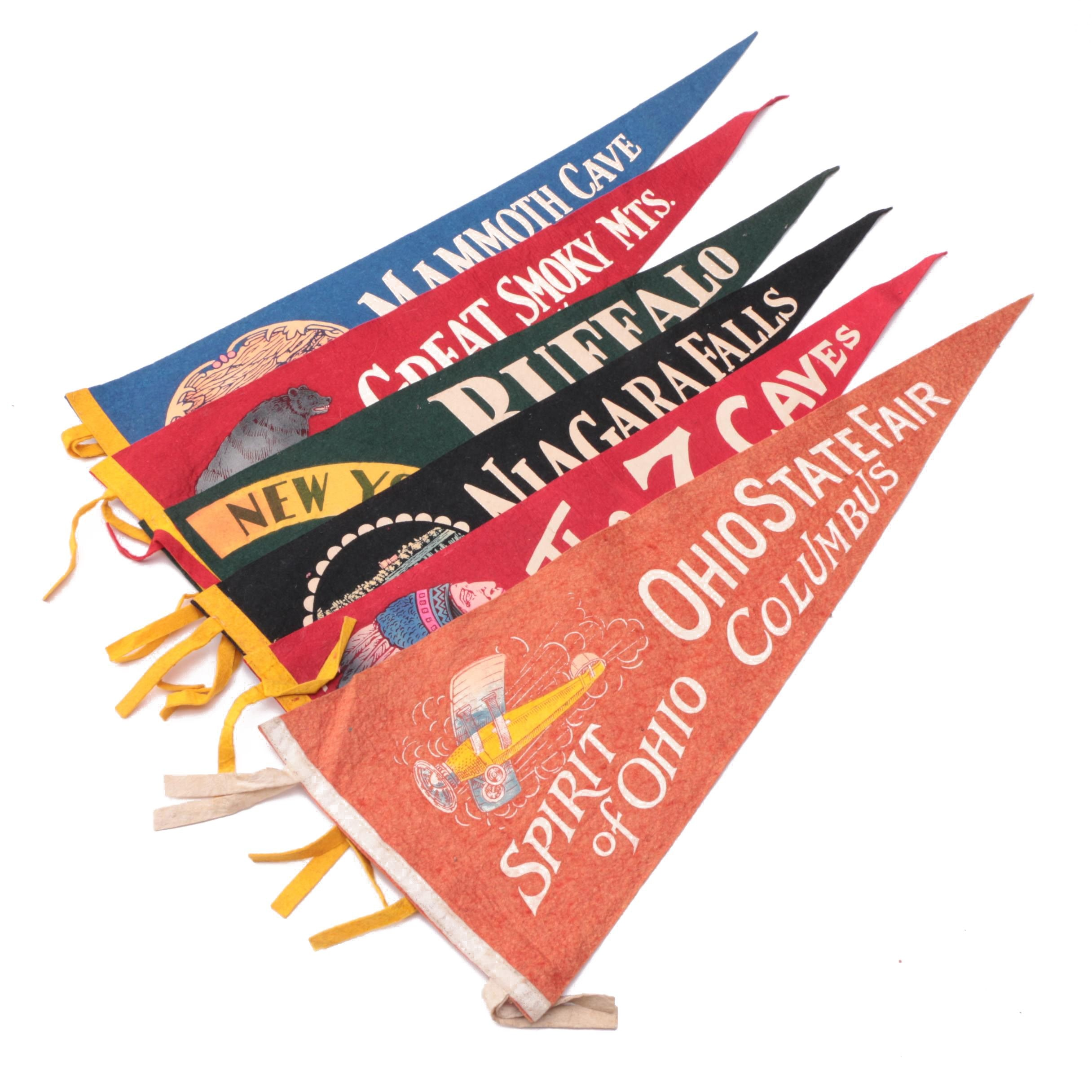 Vintage Niagara Falls, Mammoth Cave and Other Souvenir Pennants