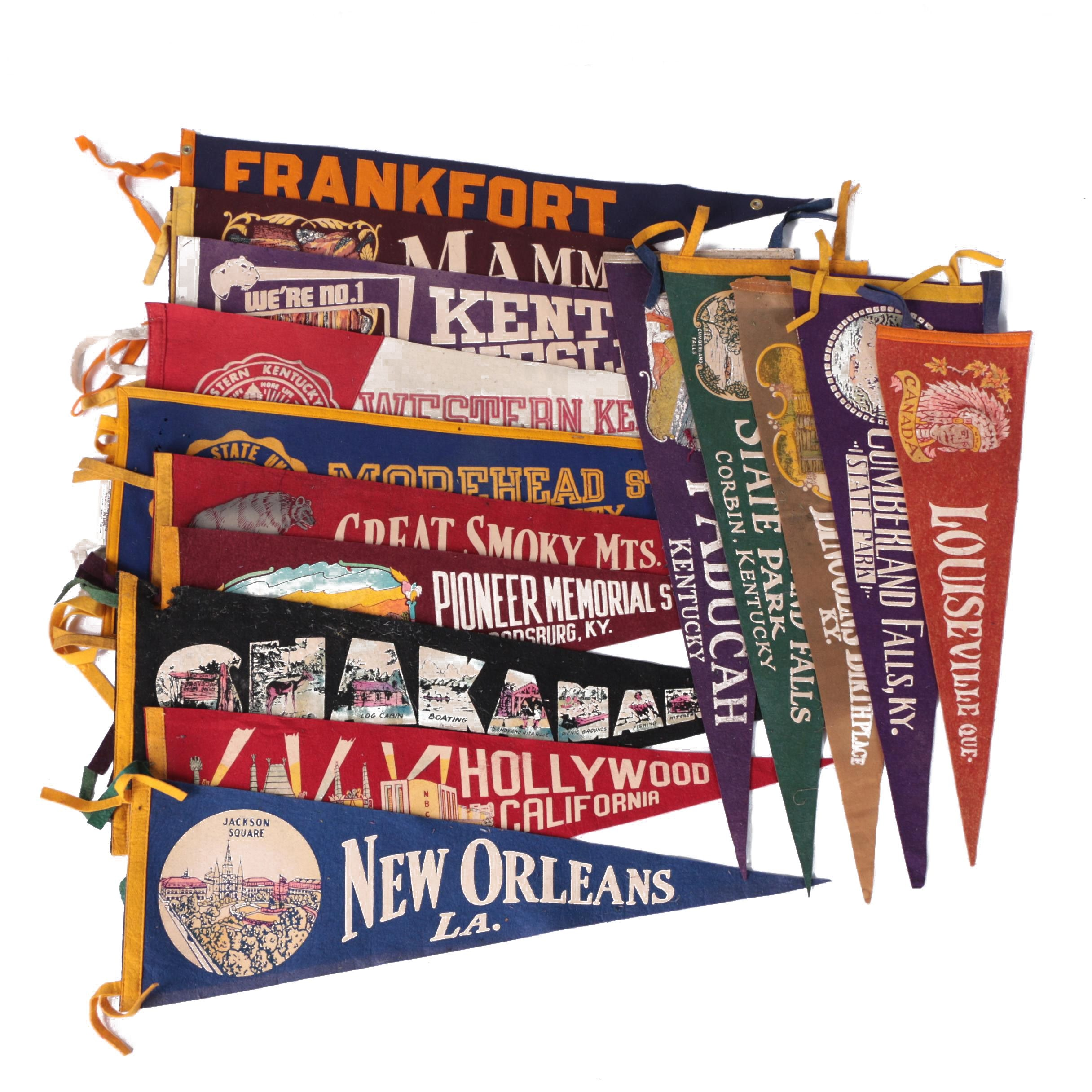 Vintage New Orleans, Hollywood, and Other Souvenir and College Pennants