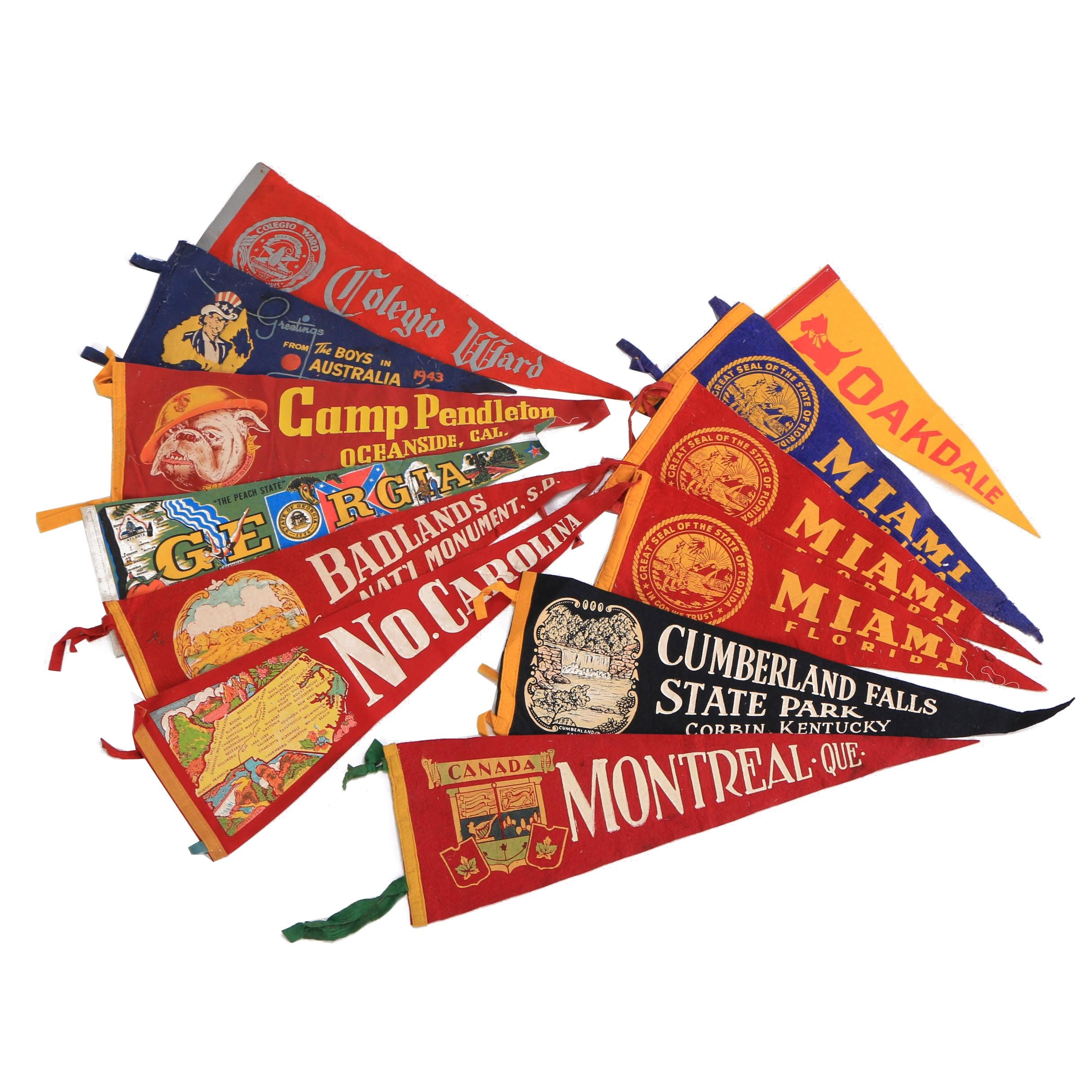 Vintage Badlands, Montreal, Miami and Other Souvenir Pennants