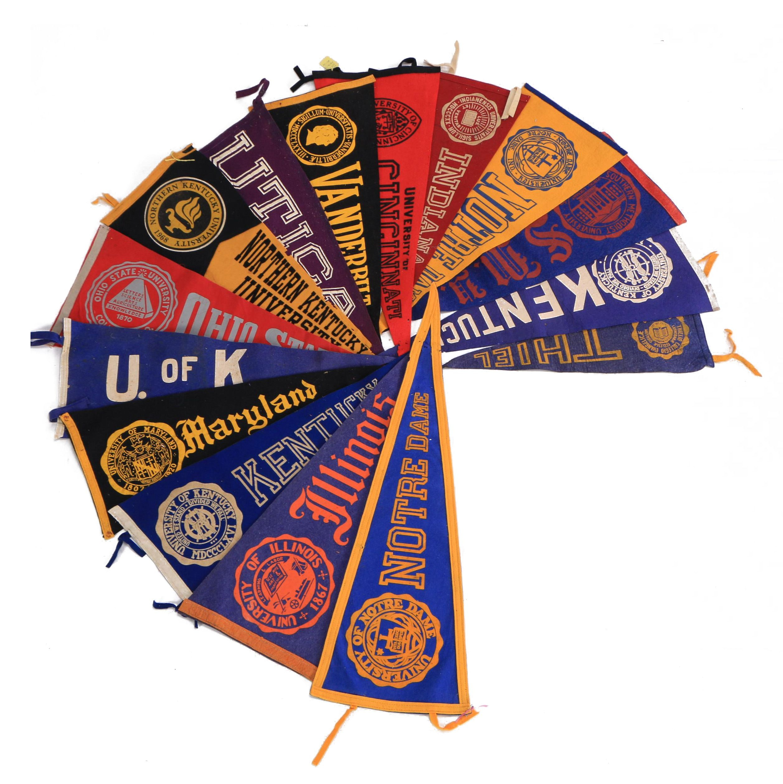 Vintage University of Kentucky, Notre Dame and Other College Pennants